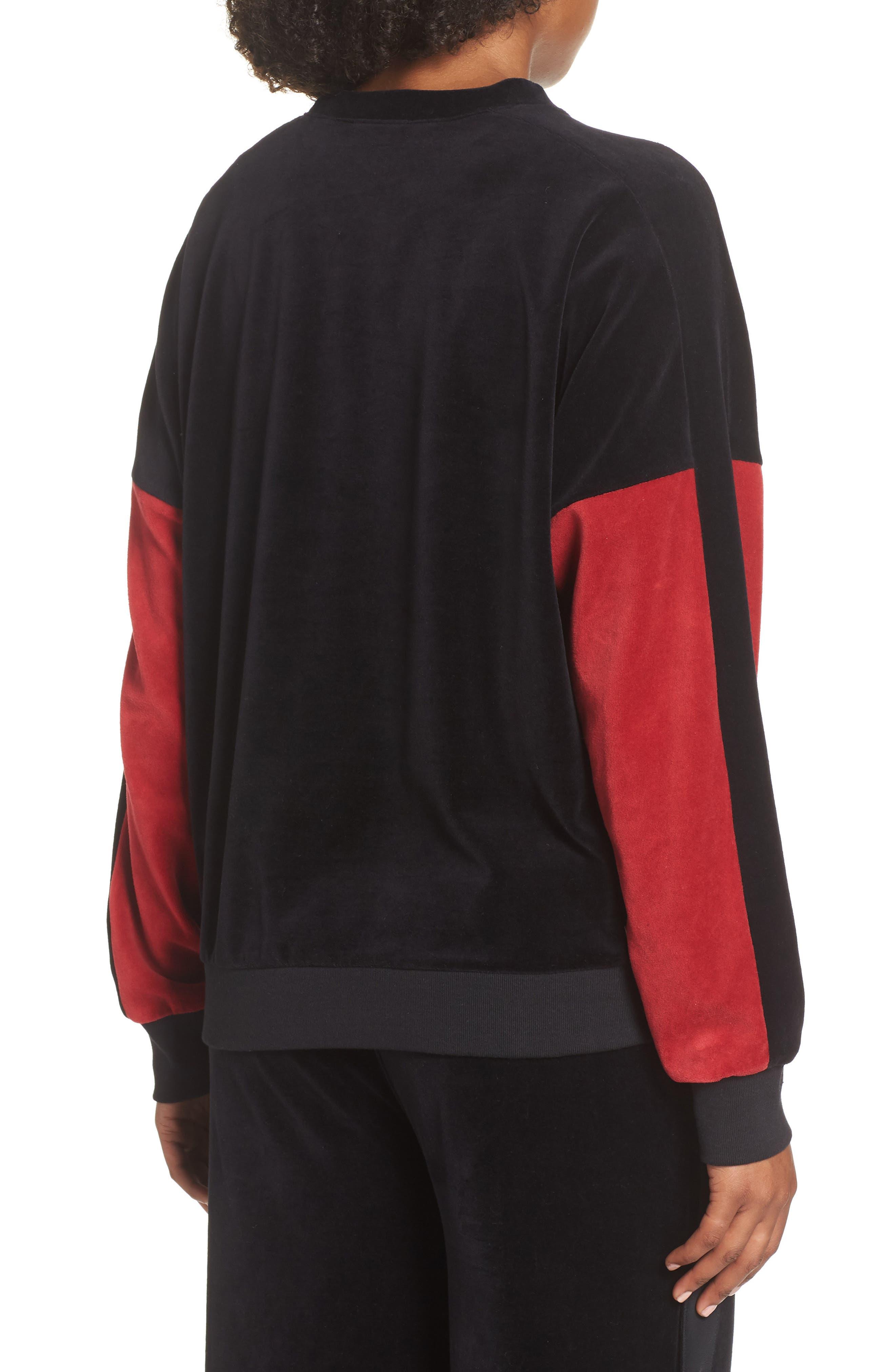 Velour Crewneck Sweater,                             Alternate thumbnail 2, color,                             BLACK/ CRIMSON