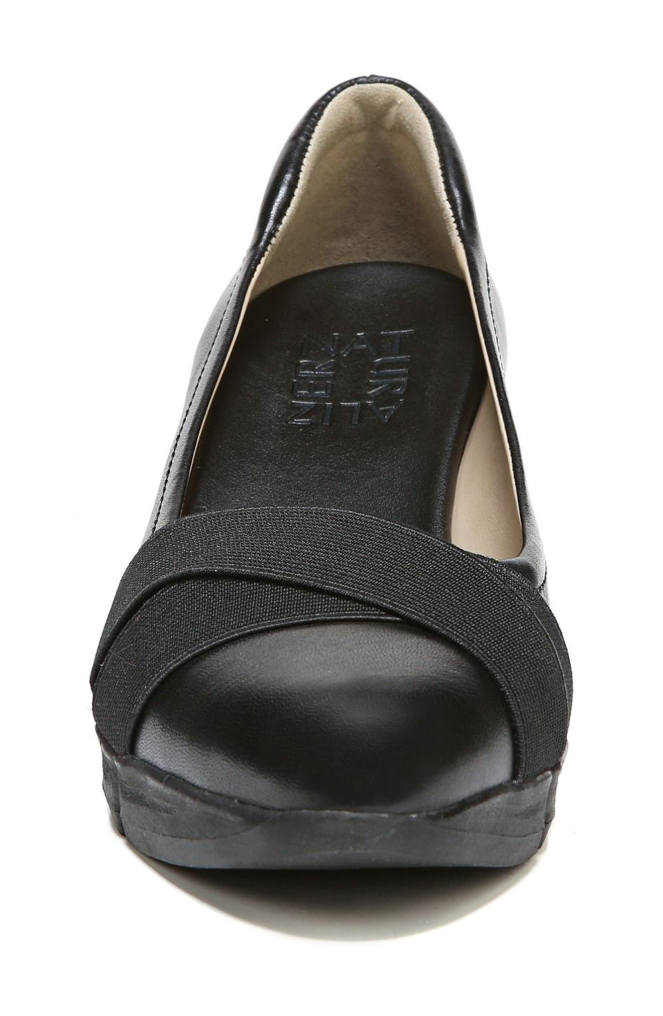 Harlyn Wedge Pump,                             Alternate thumbnail 4, color,                             BLACK LEATHER