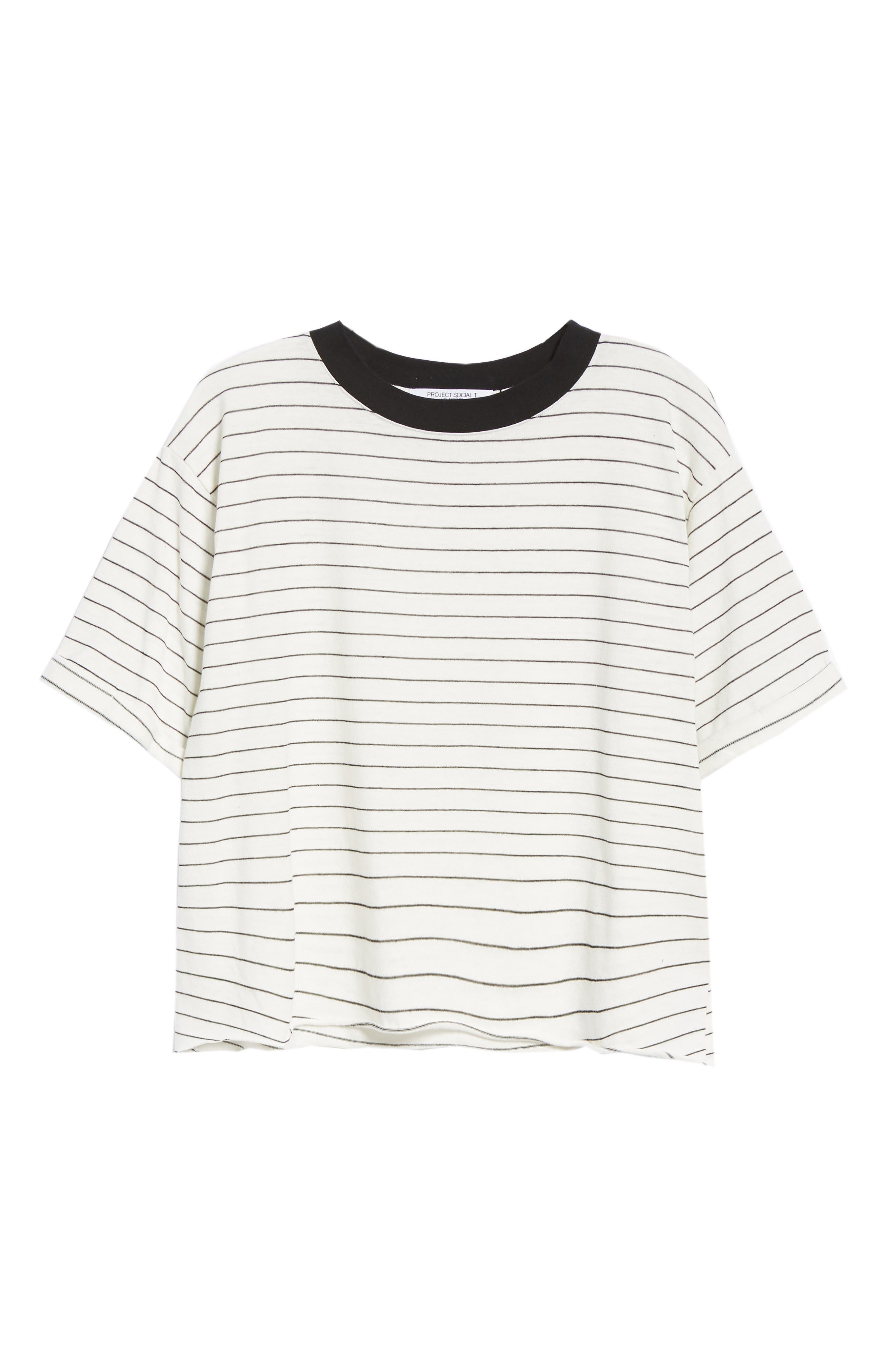 Freddy Crop Ringer Tee,                             Alternate thumbnail 6, color,                             IVORY/ BLACK