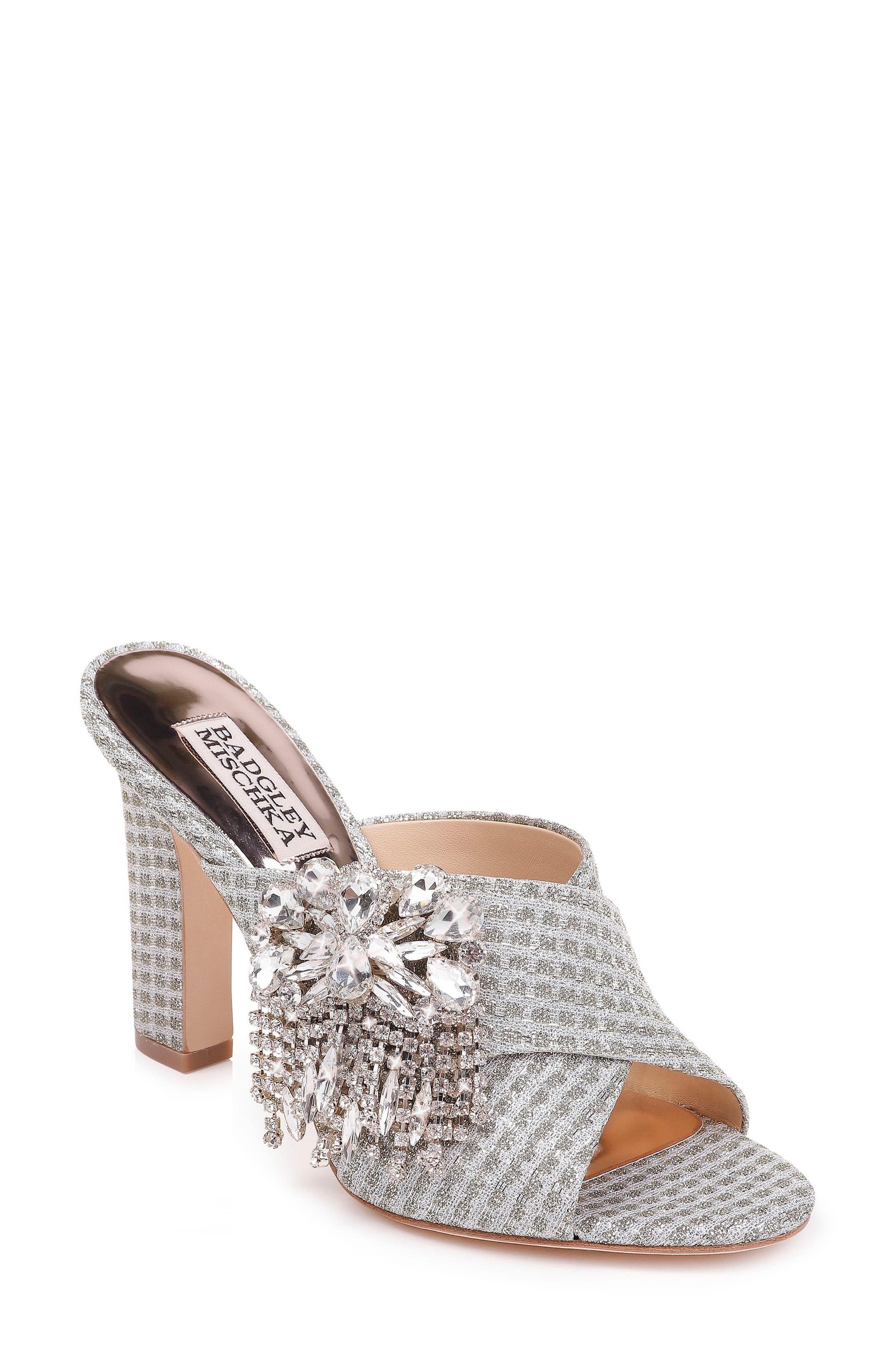 Badgley Mischka Farrah Sandal in Platino Glitter Fabric