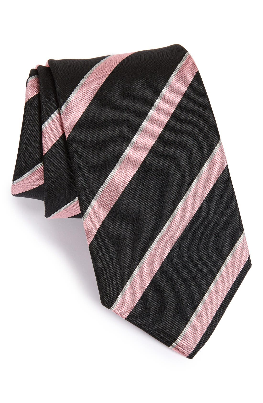 Stripe Silk Tie,                             Main thumbnail 1, color,                             BLACK