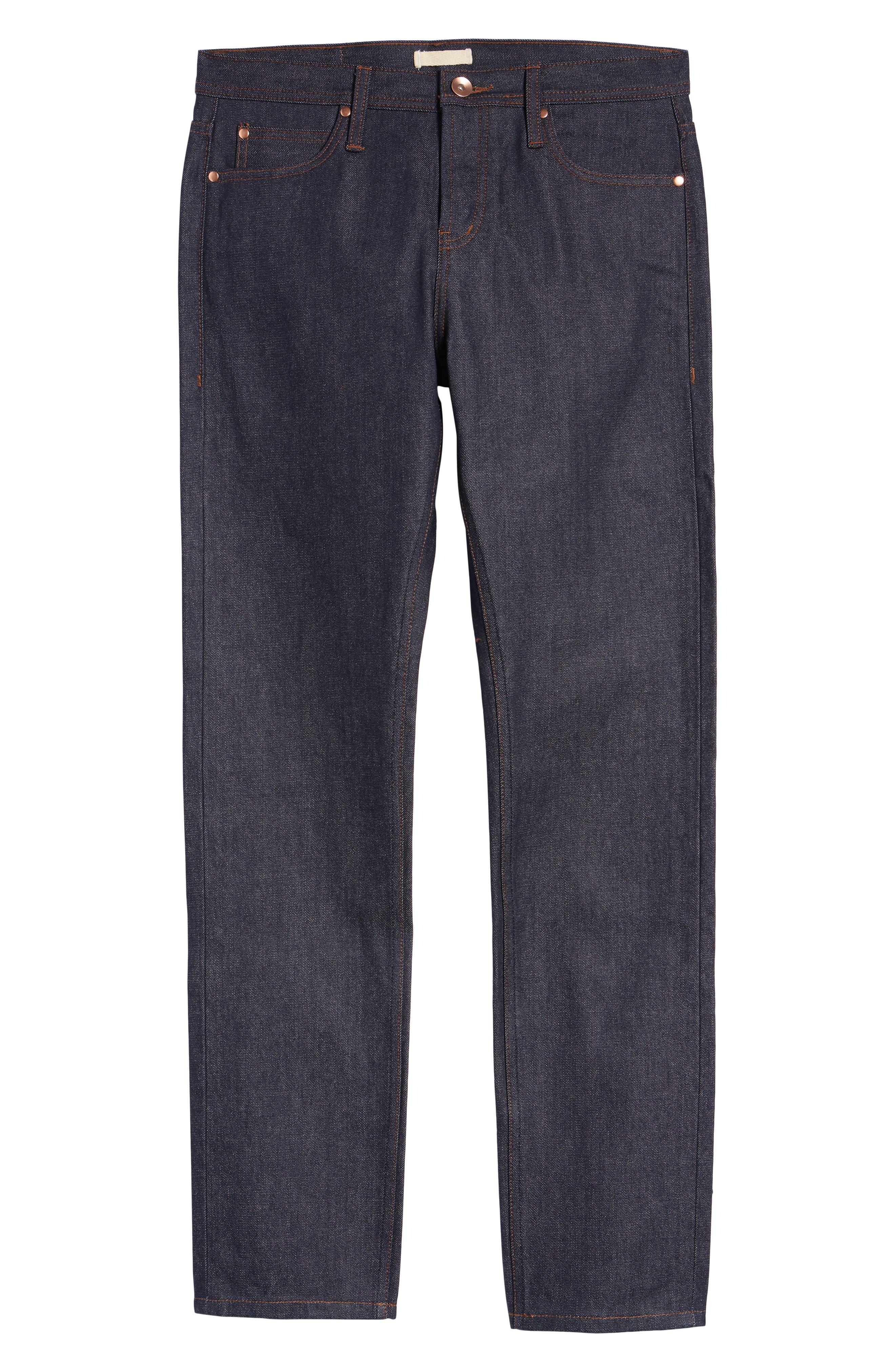 UB101 Skinny Fit Raw Selvedge Jeans,                             Alternate thumbnail 2, color,                             INDIGO