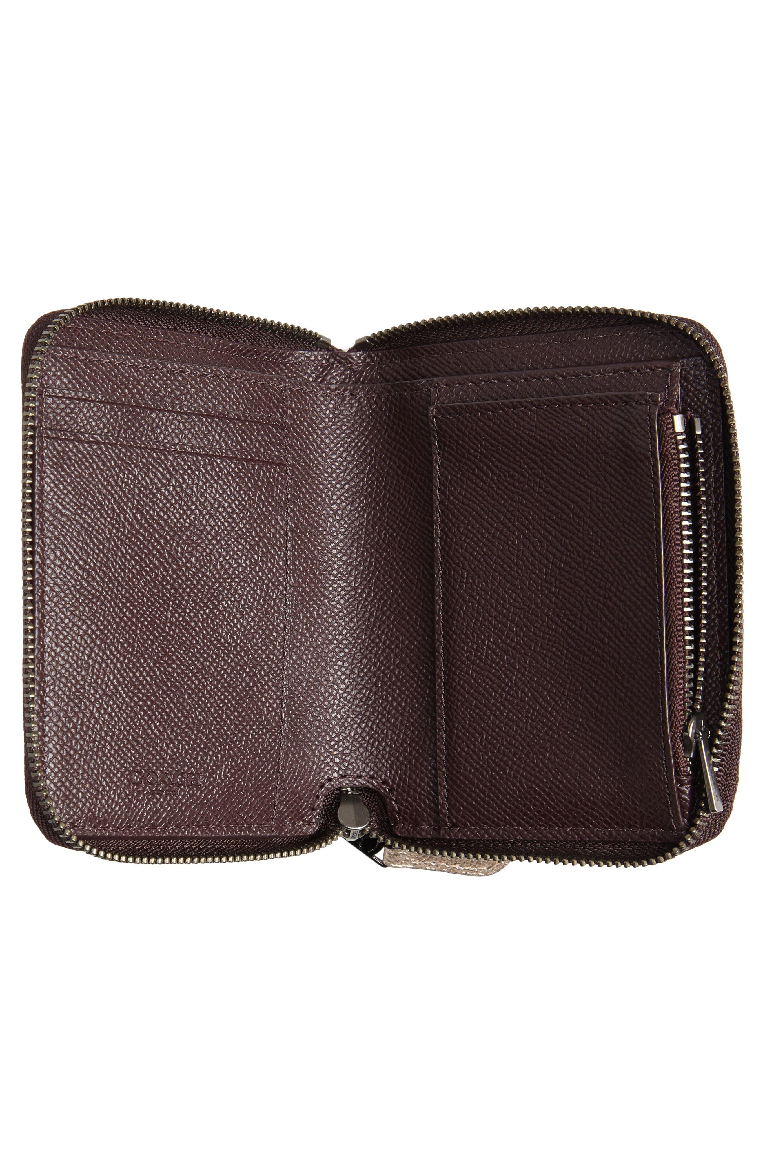 COACH,                             Small Metallic Leather Zip Around Wallet,                             Alternate thumbnail 2, color,                             PLATINUM