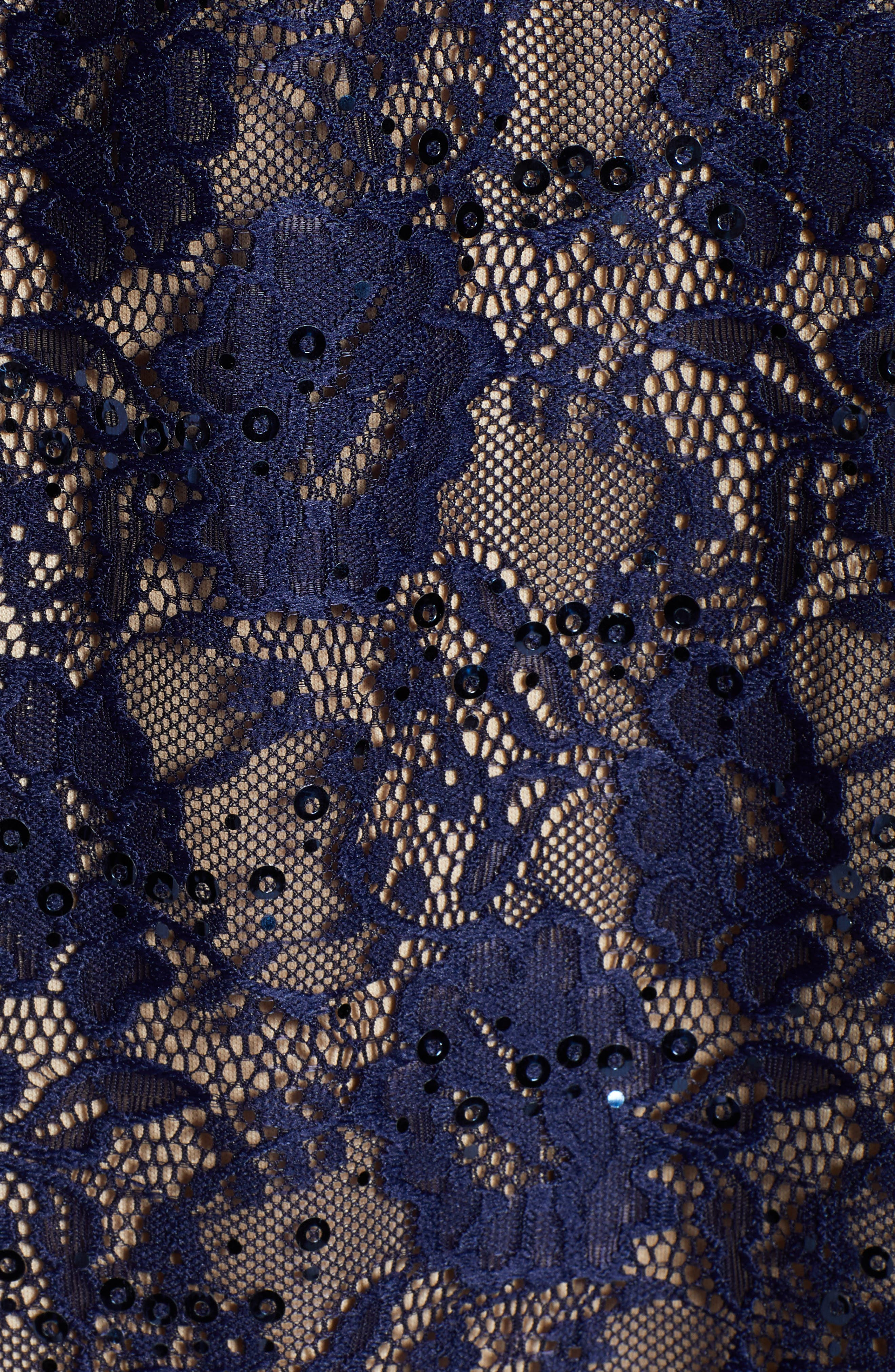 Sequin Lace Shift Dress,                             Alternate thumbnail 6, color,                             NAVY/ TAUPE