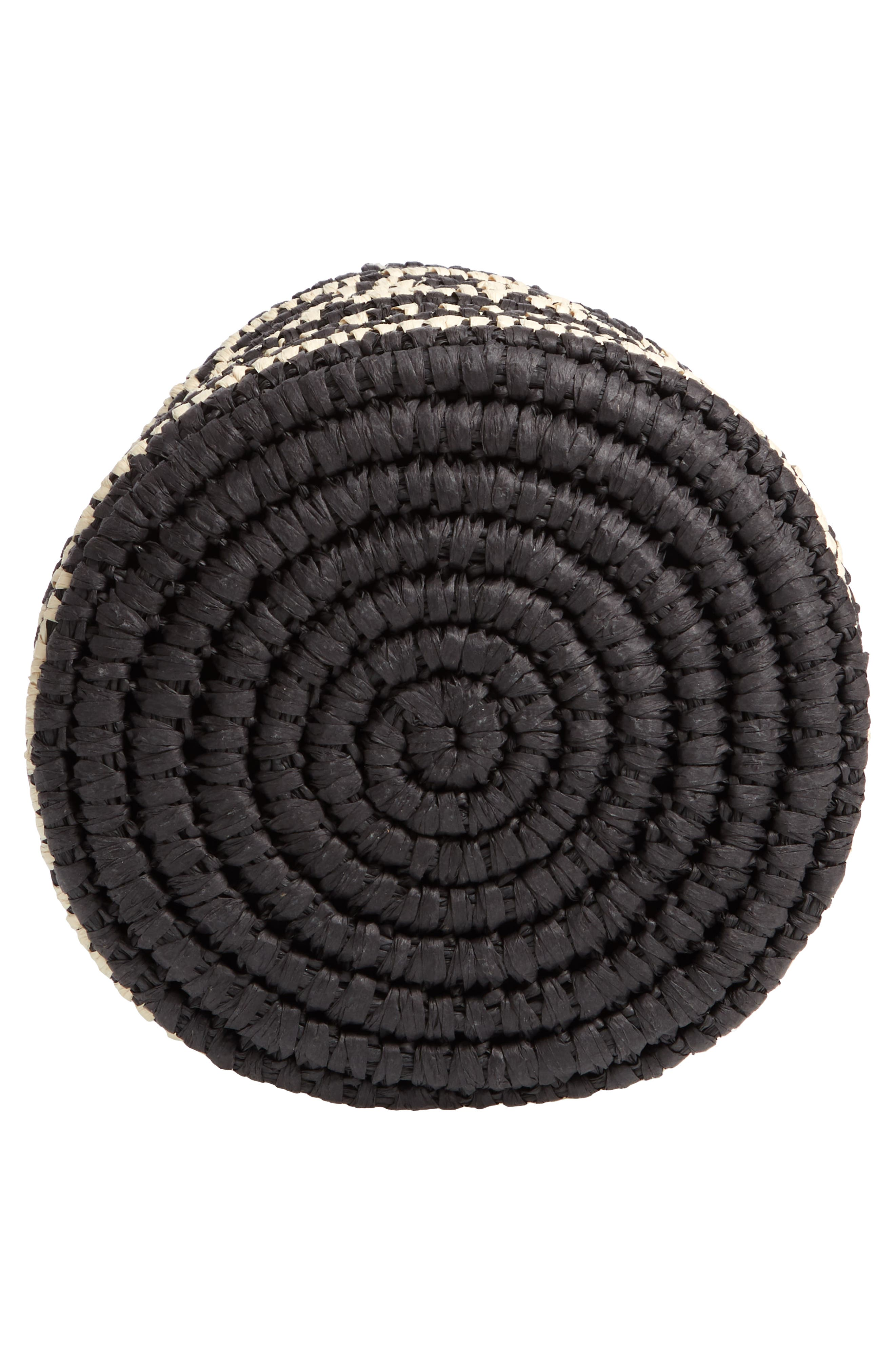 Talula Woven Raffia Bucket Bag,                             Alternate thumbnail 6, color,                             BLACK