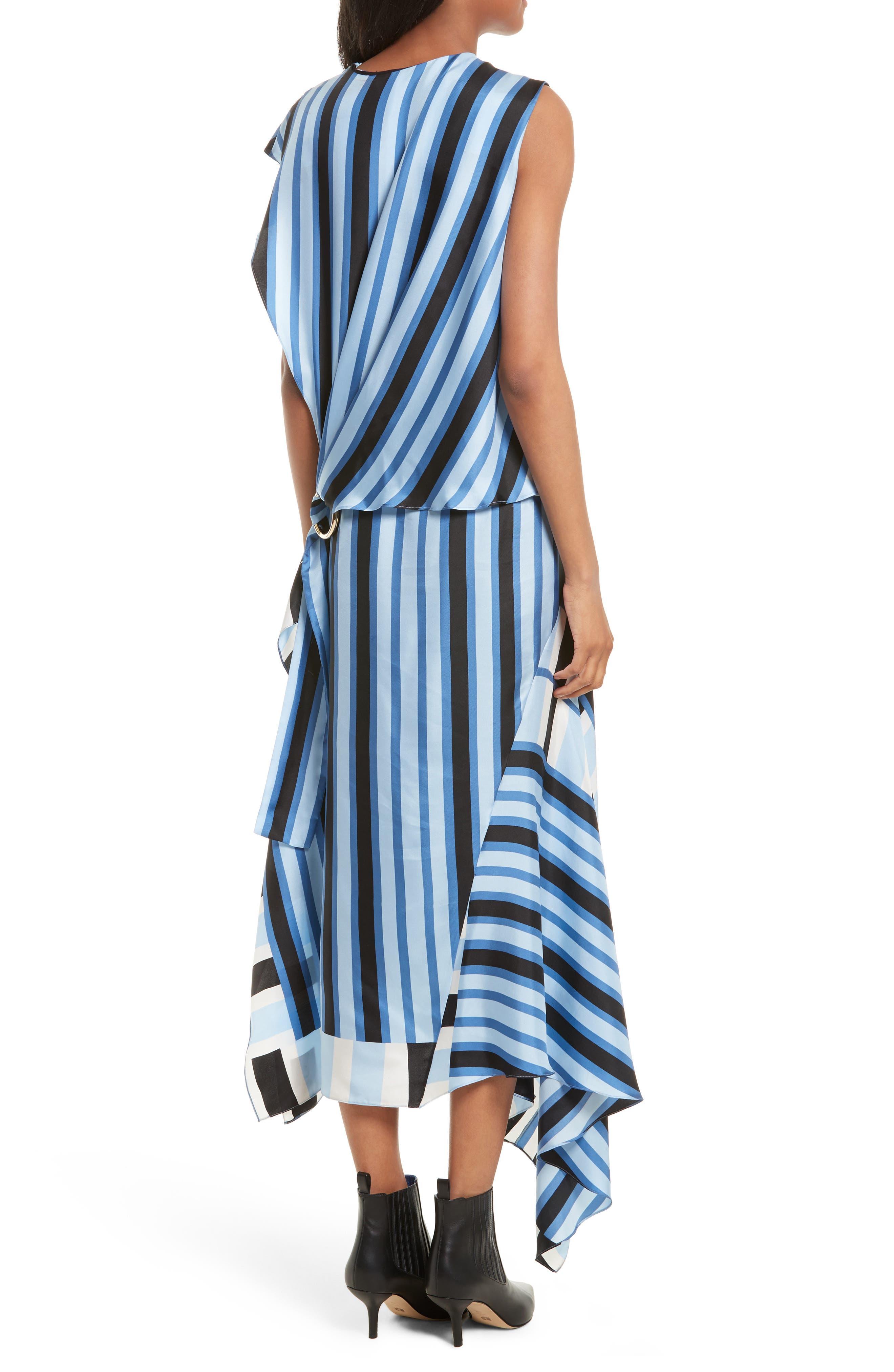 Asymmetrical Stripe Silk Maxi Dress,                             Alternate thumbnail 2, color,                             451