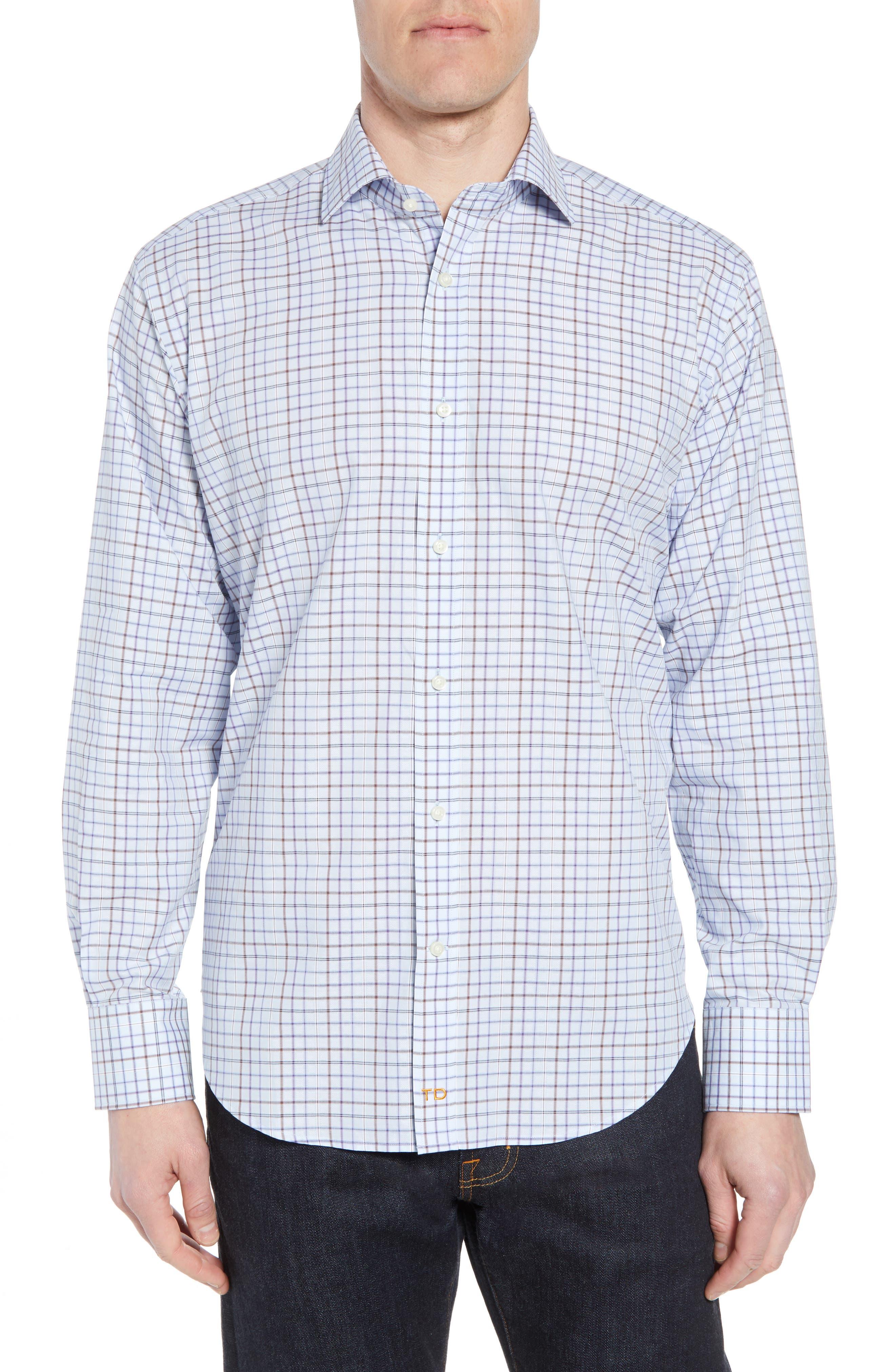 Regular Fit Windowpane Sport Shirt,                         Main,                         color, 500