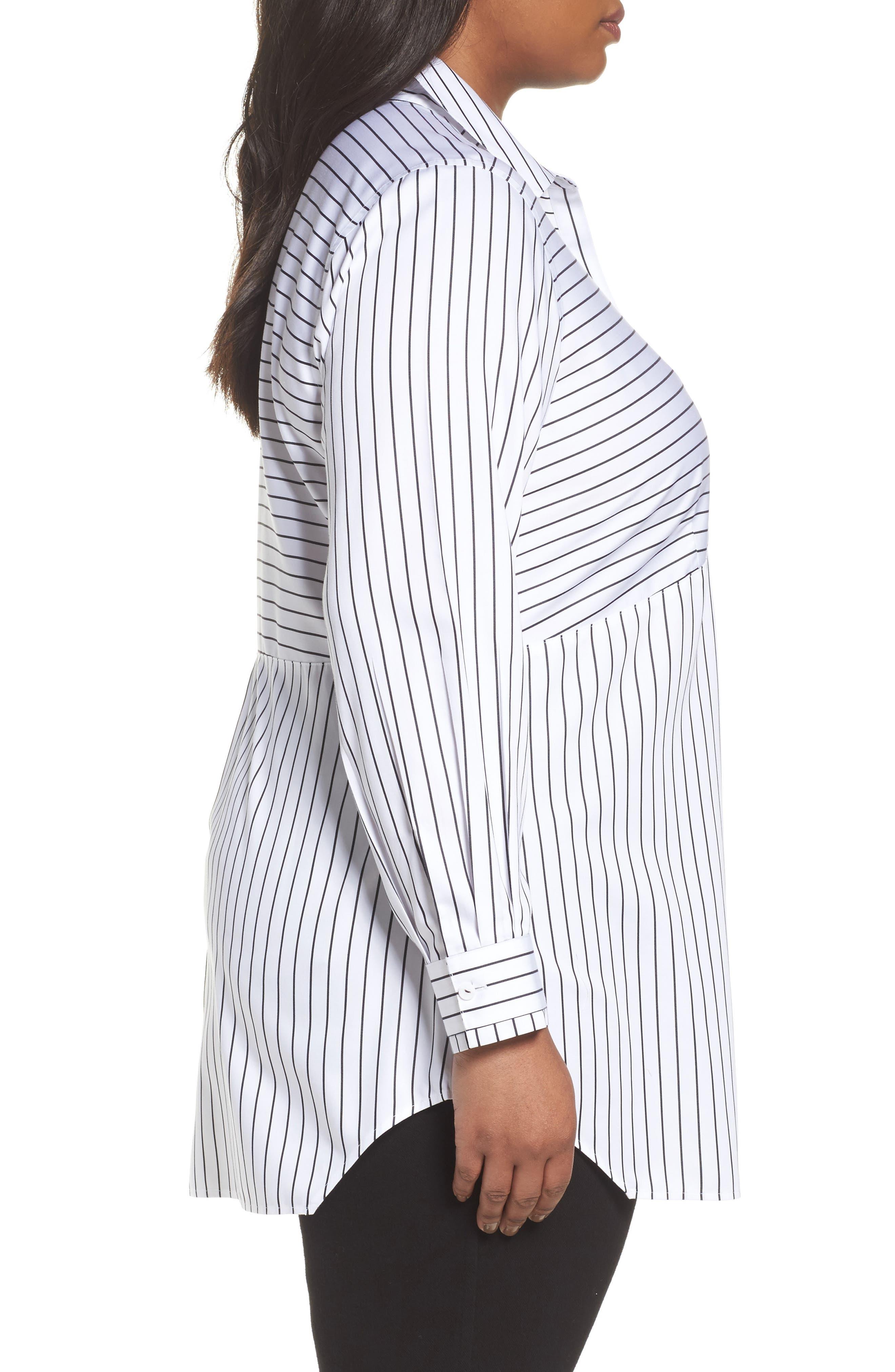 Gina Holiday Stripe Shirt,                             Alternate thumbnail 3, color,                             100