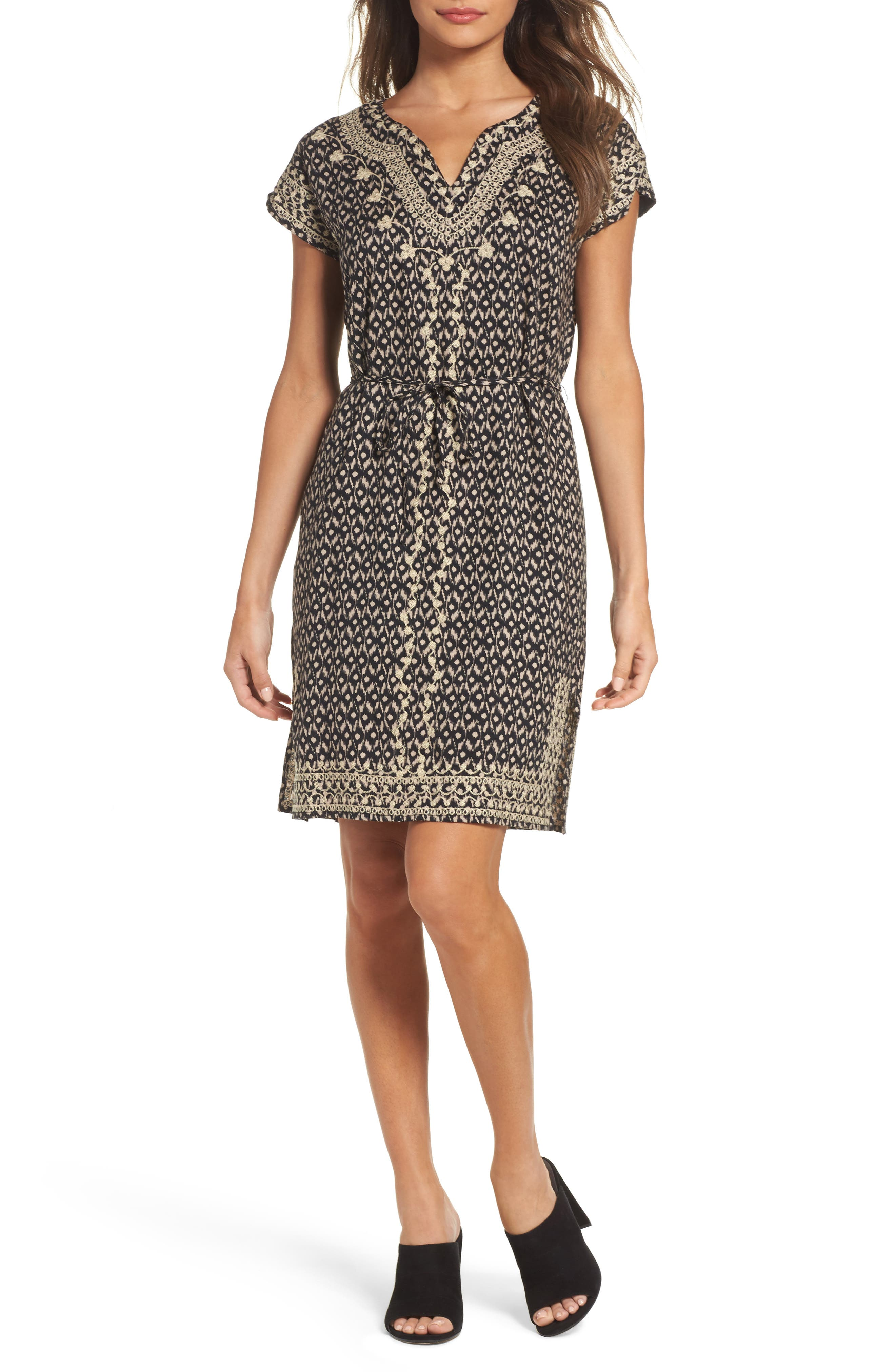 Embroidered Shift Dress,                         Main,                         color, 001