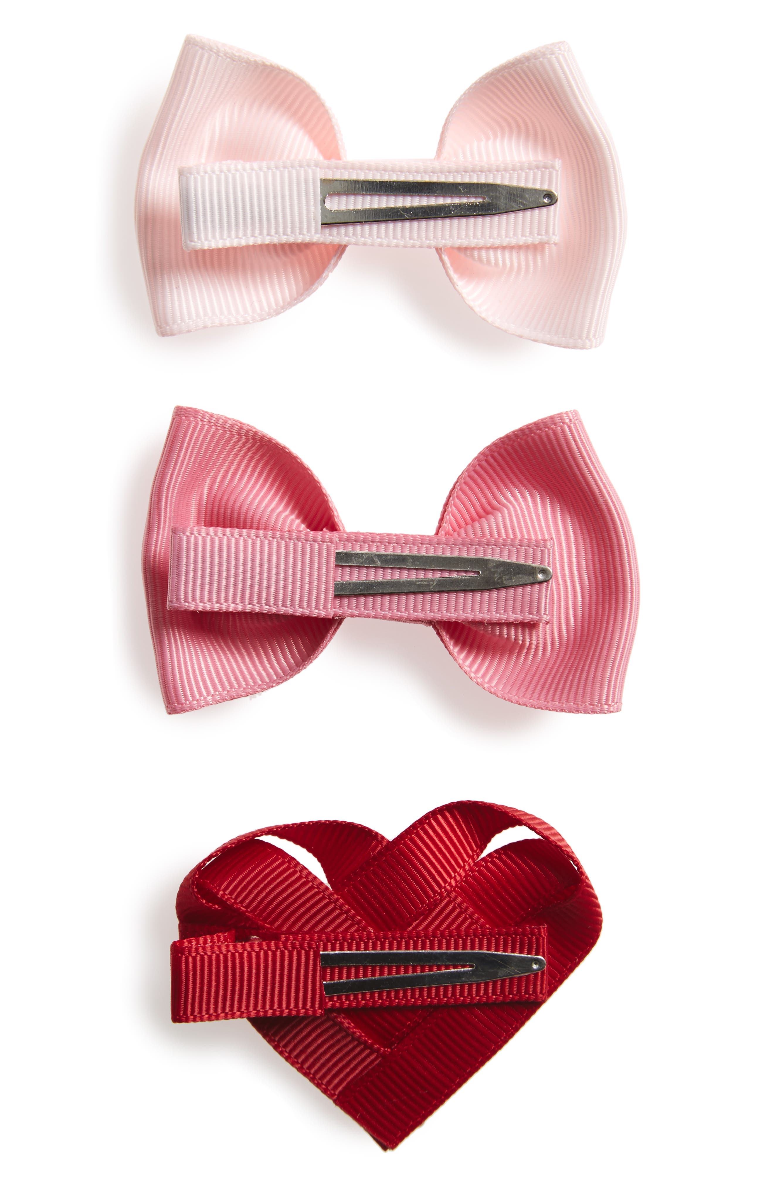 3-Piece Heart & Bows Hair Clip Set,                             Alternate thumbnail 2, color,                             650