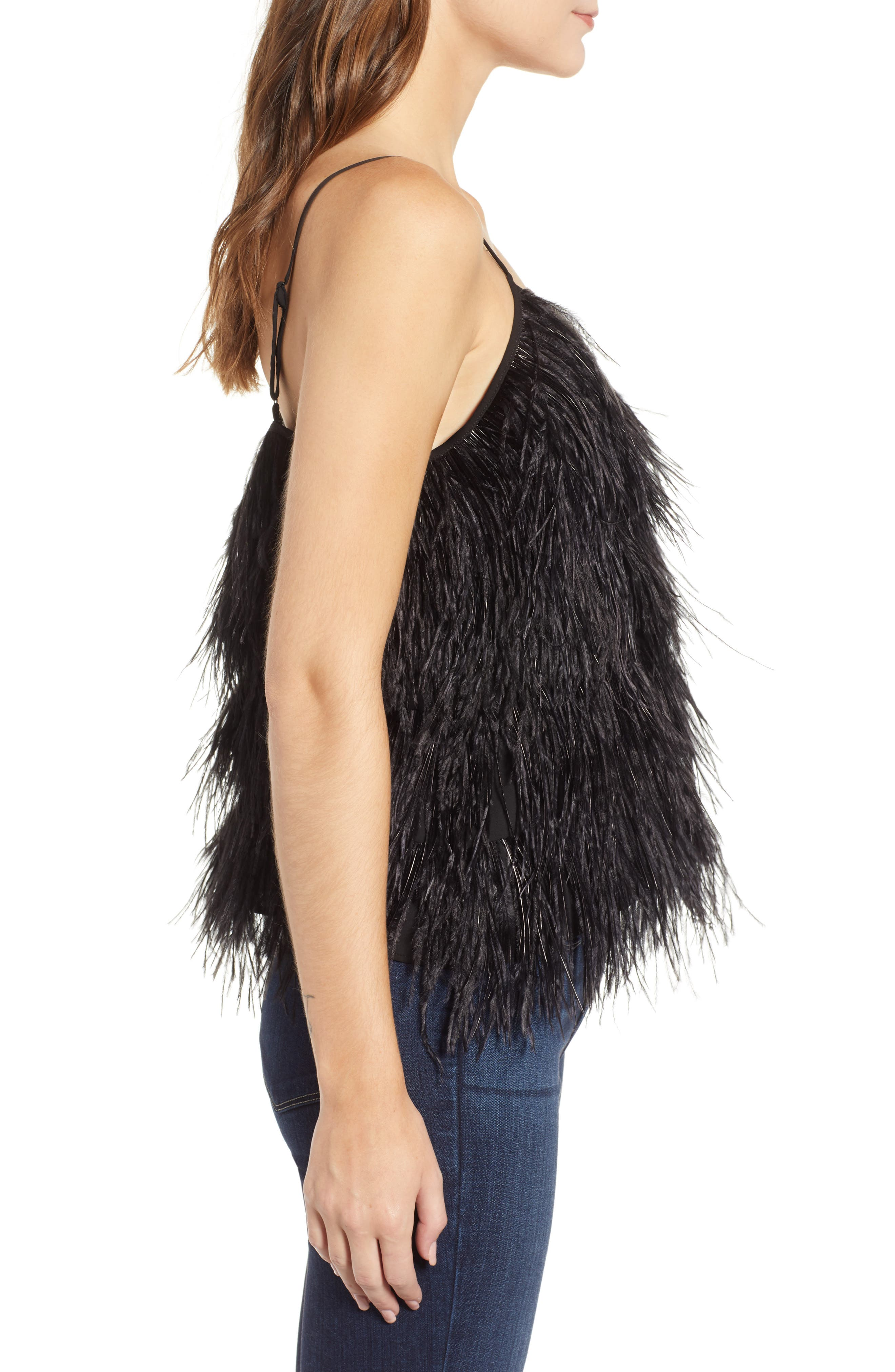 Feather Camisole,                             Alternate thumbnail 3, color,                             BLACK