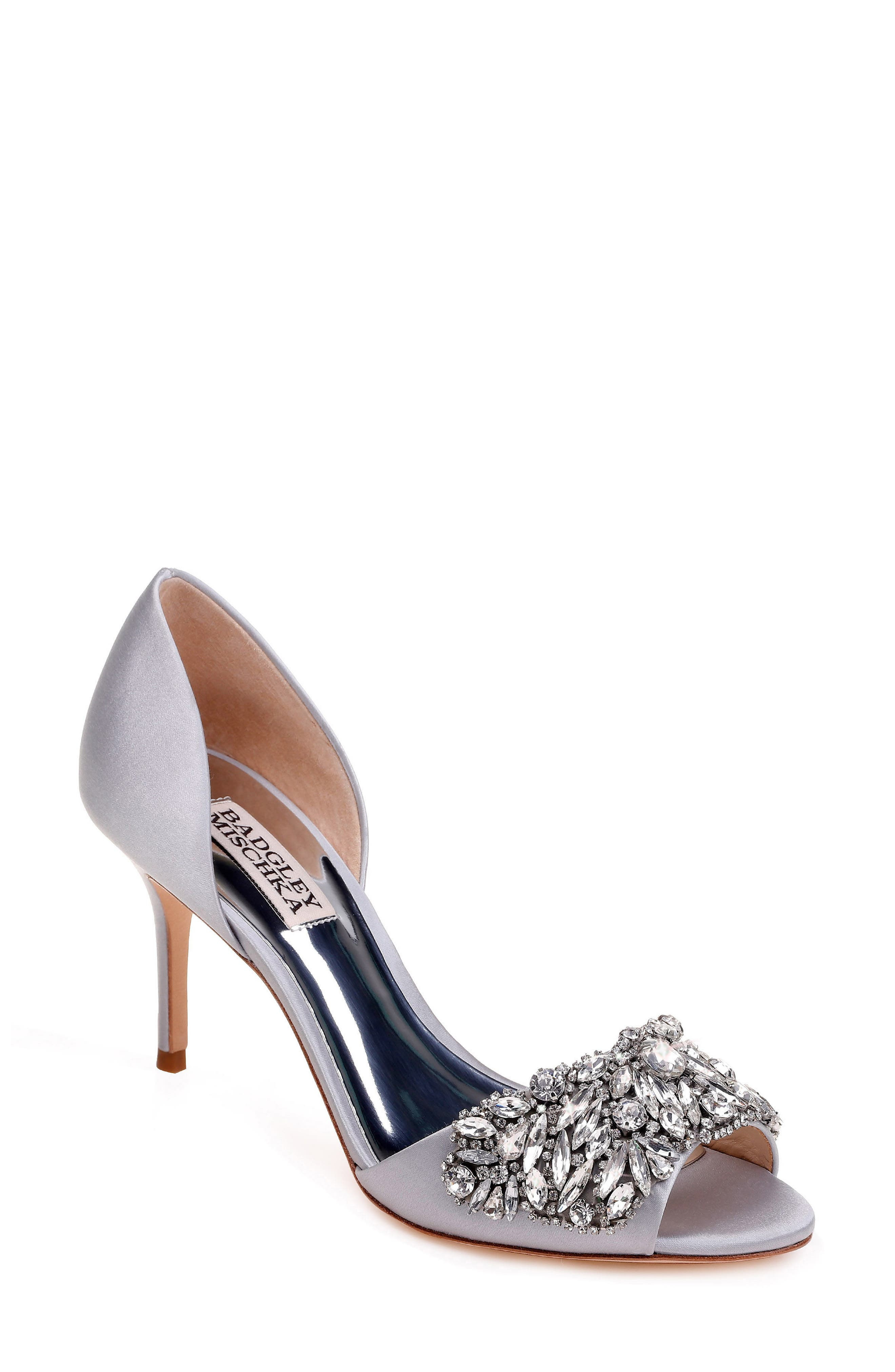 Hansen Crystal Embellished Sandal,                             Main thumbnail 1, color,                             SILVER SATIN