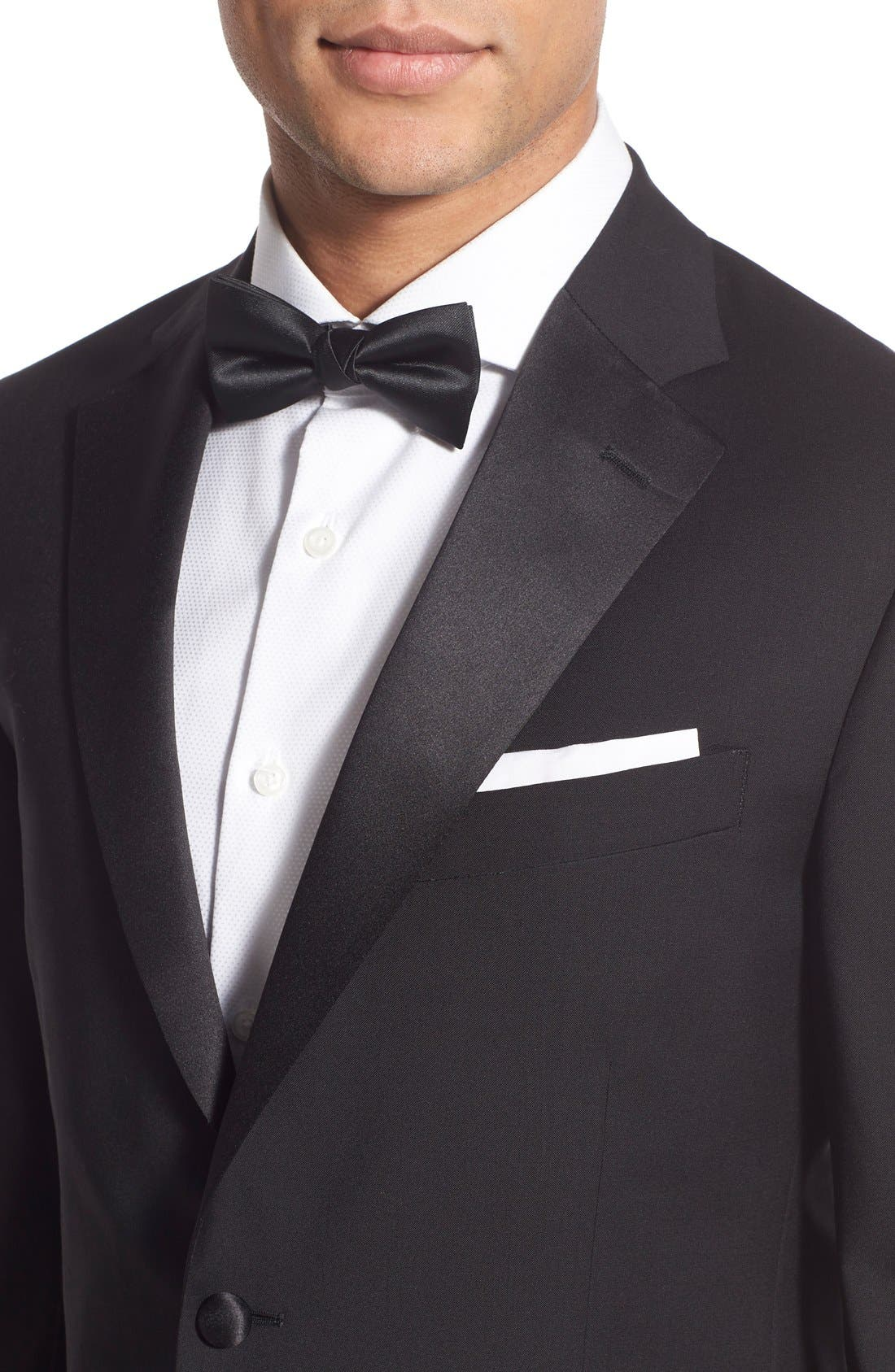 Trim Fit Wool Tuxedo,                             Alternate thumbnail 7, color,                             BLACK