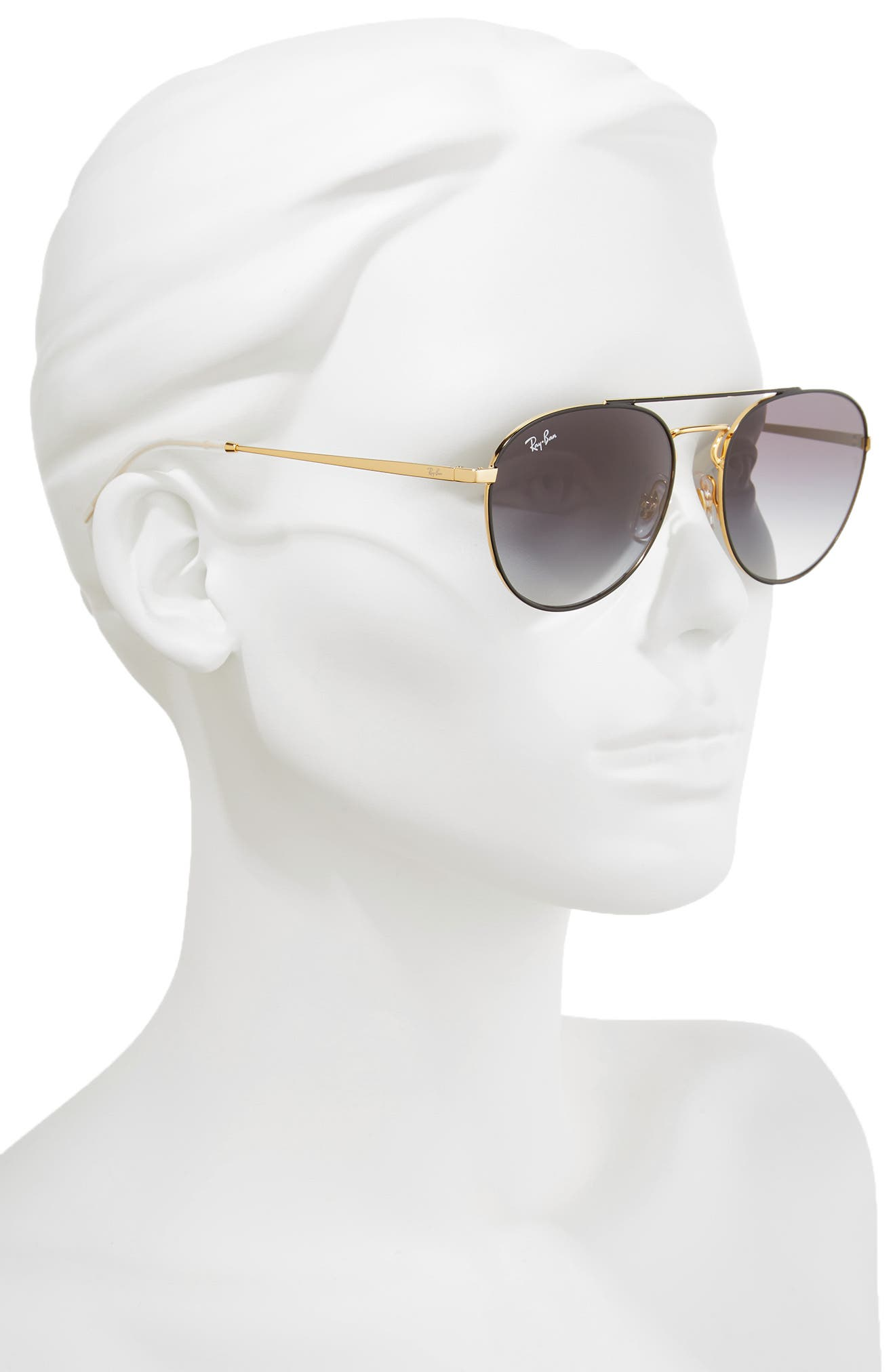 55mm Gradient Lens Round Aviator Sunglasses,                             Alternate thumbnail 3, color,                             001