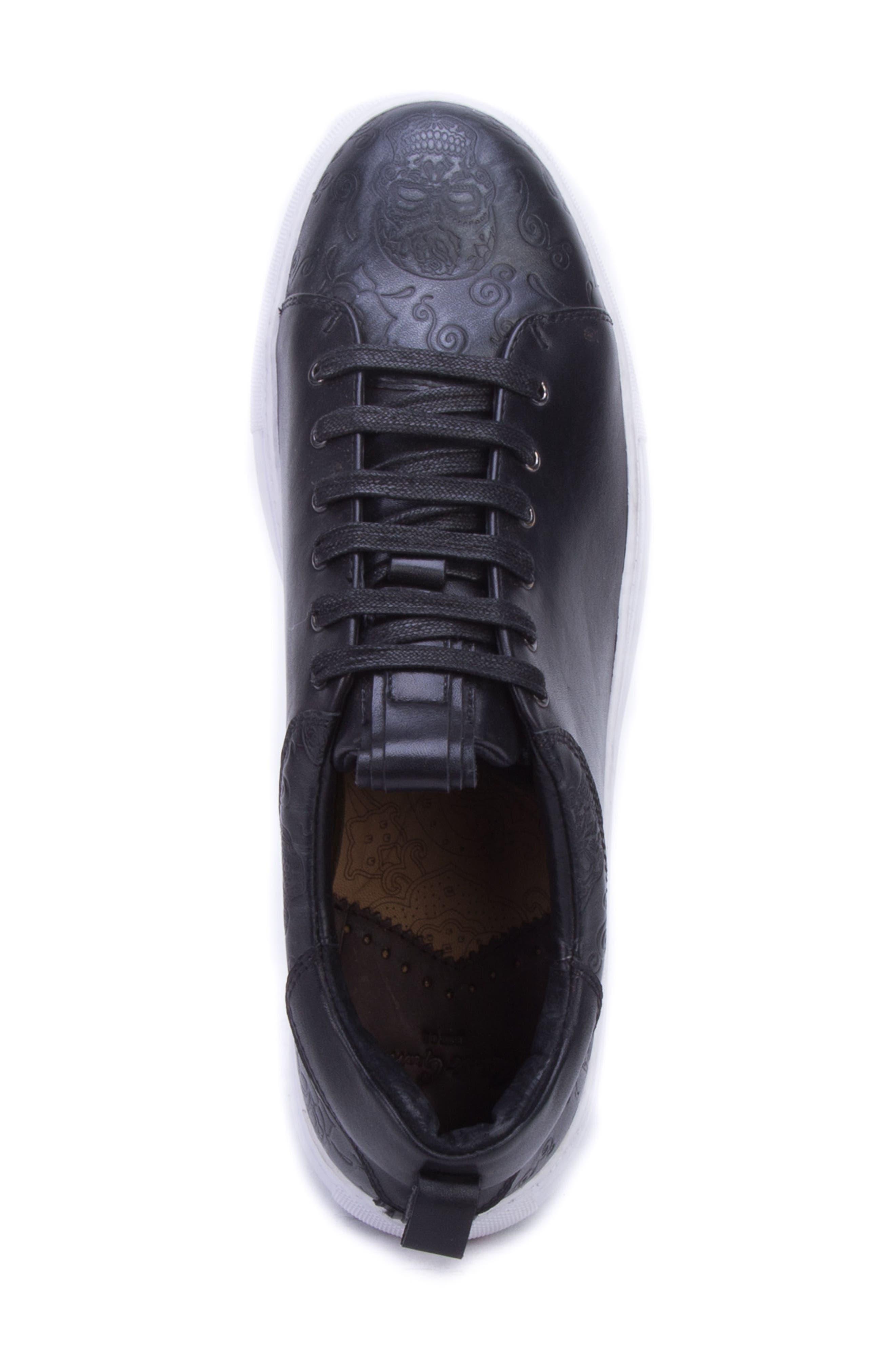 Sanderson Embossed Sneaker,                             Alternate thumbnail 5, color,                             BLACK LEATHER
