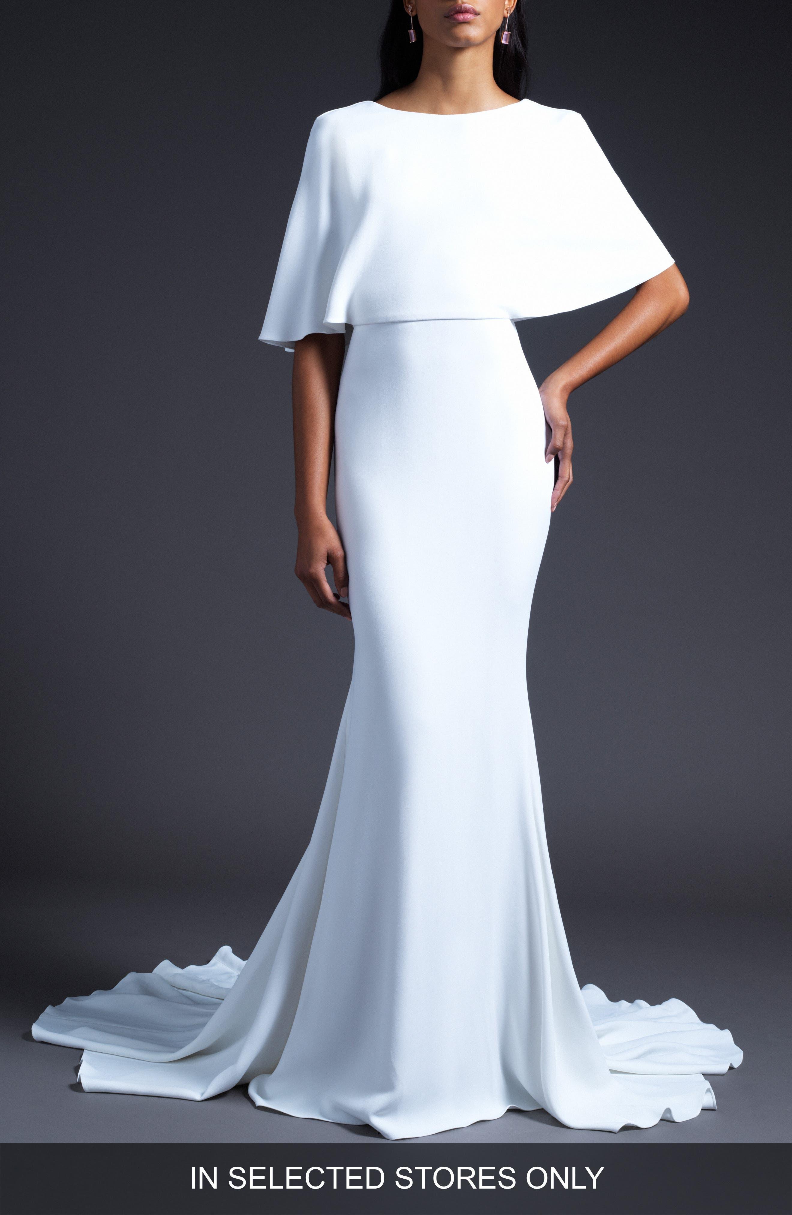 Open Back Cape Shoulder Wedding Dress in White