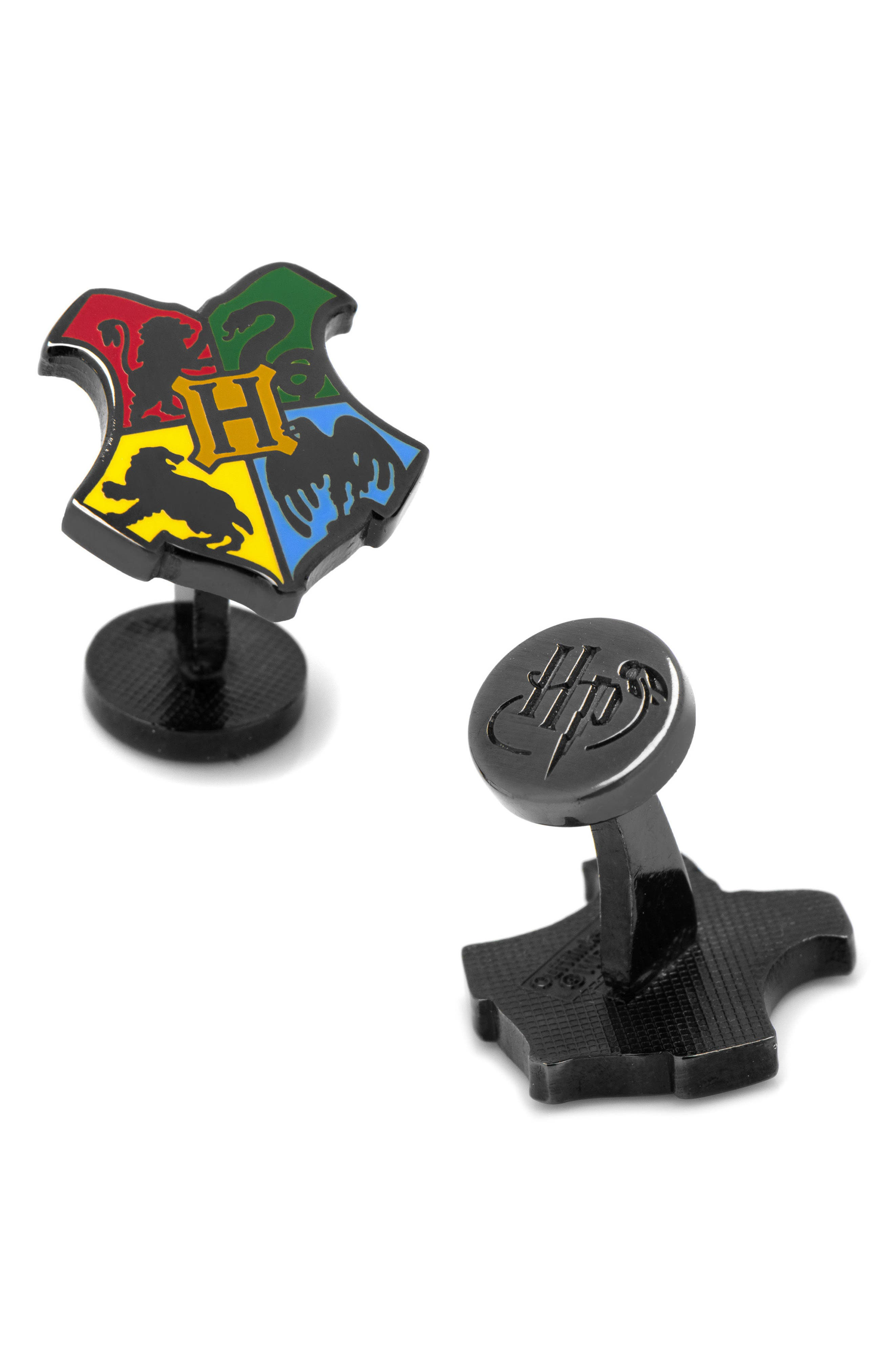 Harry Potter Hogwarts Cuff Links,                             Main thumbnail 1, color,                             BLACK