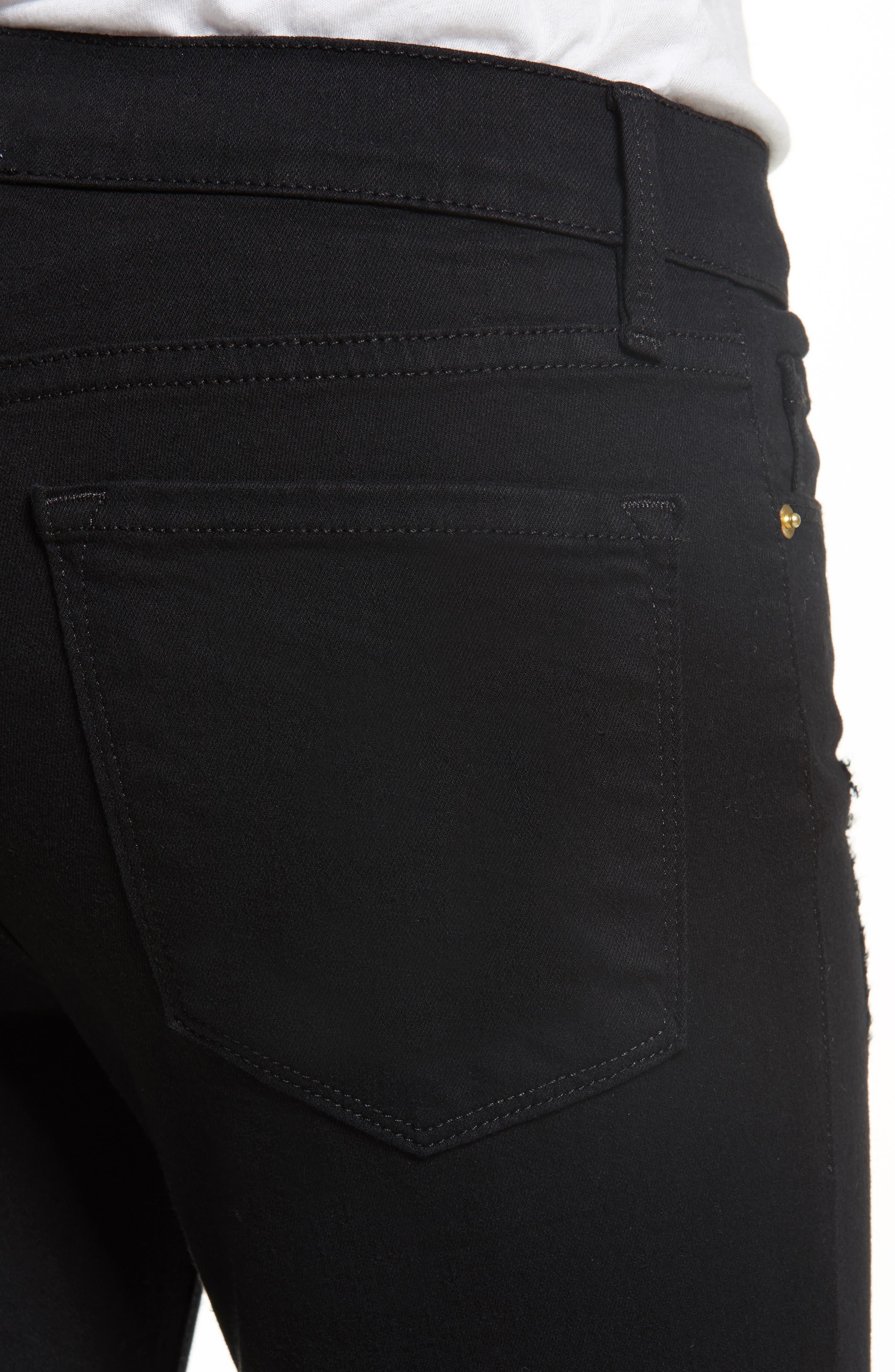 Le Skinny de Jeanne Raw Stagger Hem Jeans,                             Alternate thumbnail 4, color,                             FILM NOIR