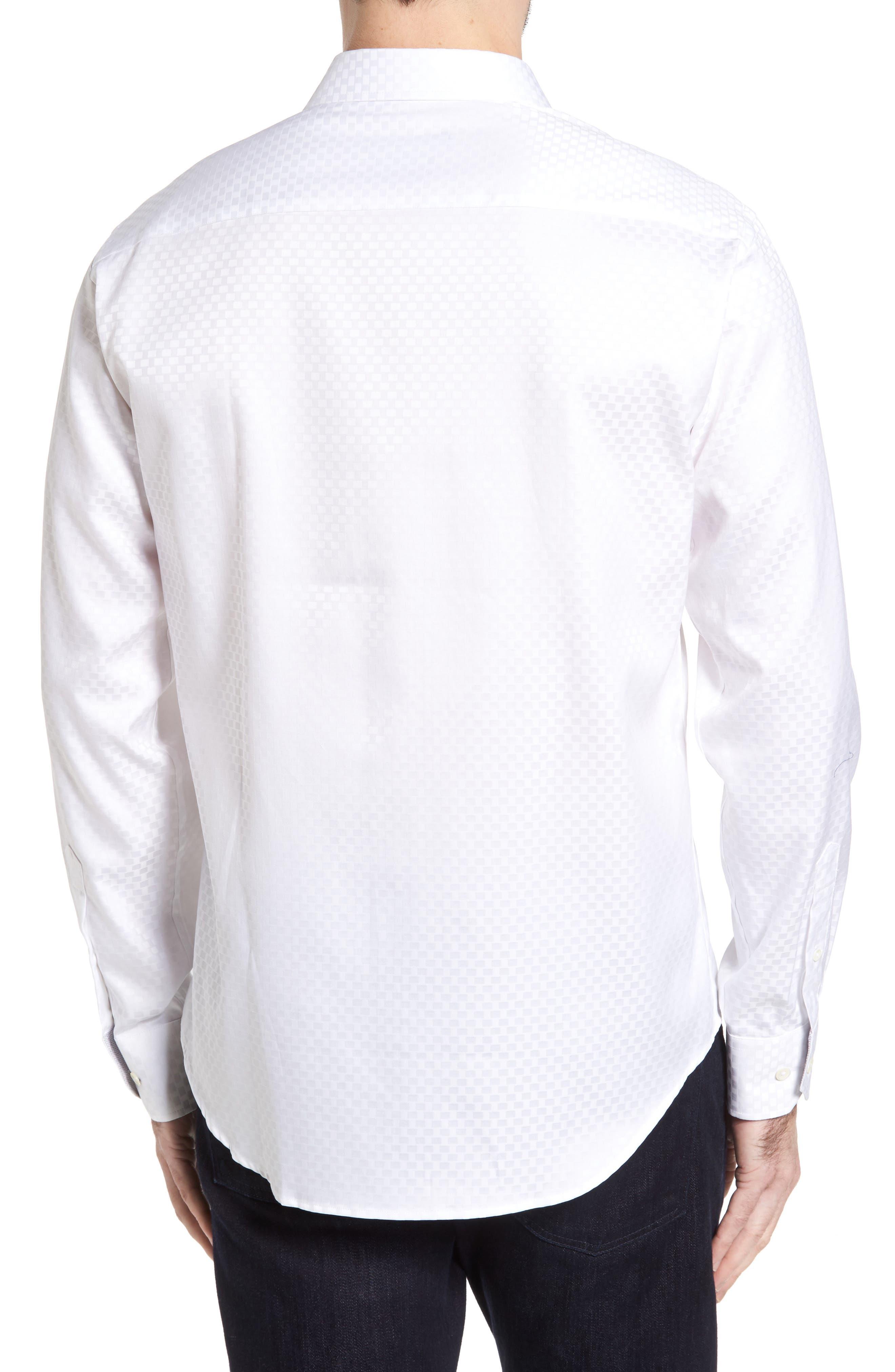 Shaped Fit Rectangle Jacquard Sport Shirt,                             Alternate thumbnail 8, color,