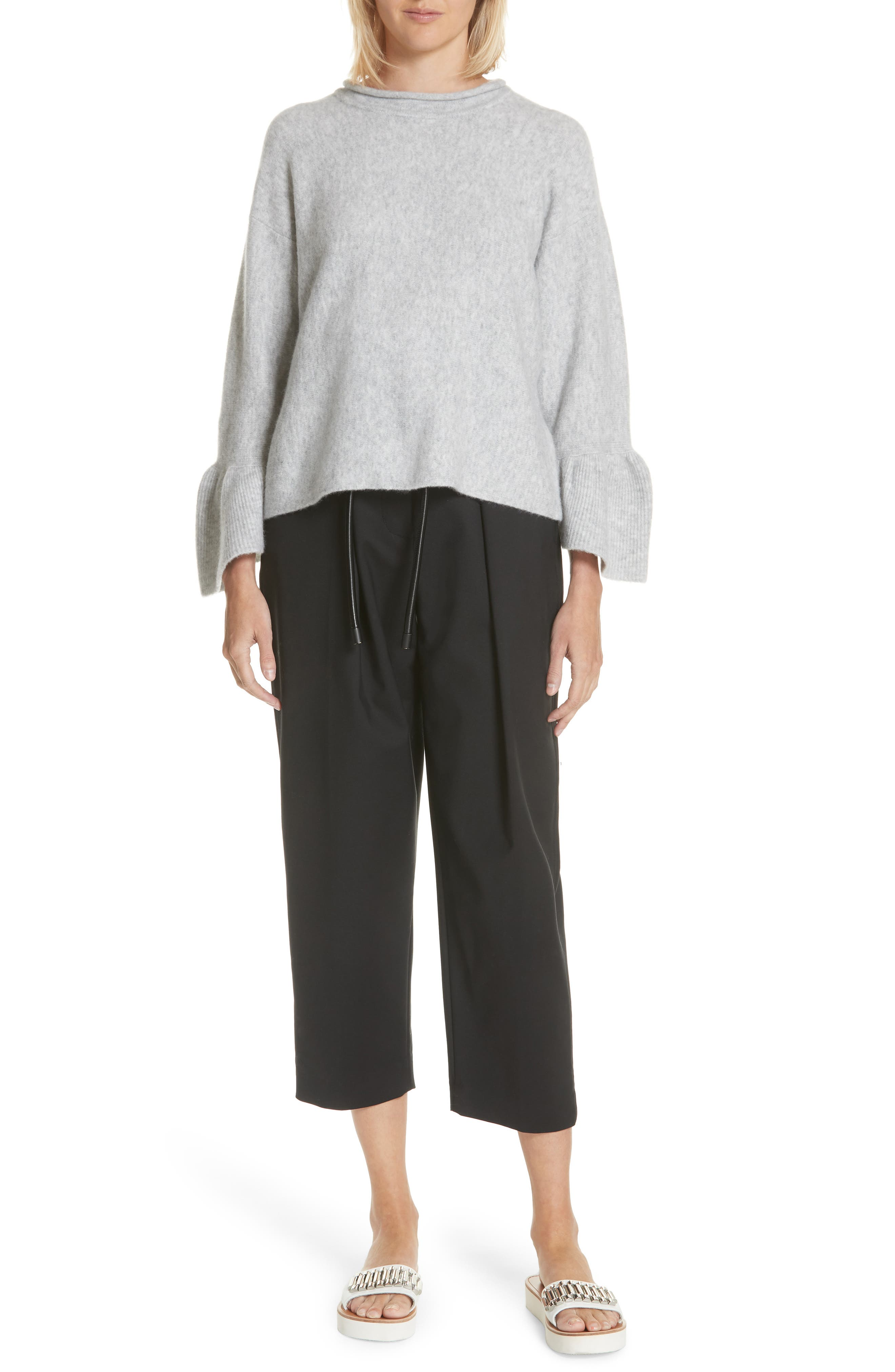 Ruffle Cuff Wool Blend Pullover,                             Alternate thumbnail 7, color,                             034