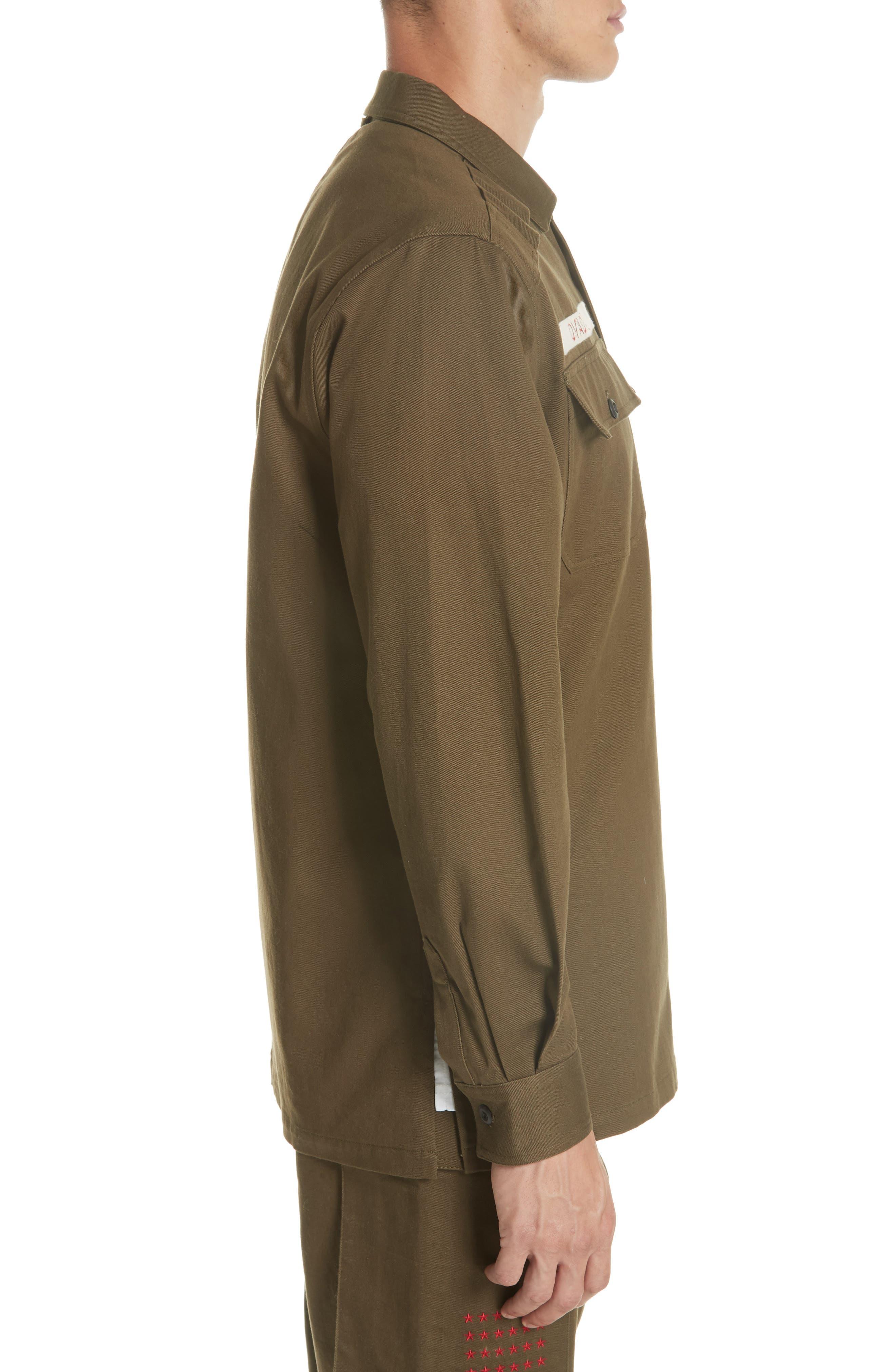 OVADIA & SONS,                             Military Woven Shirt,                             Alternate thumbnail 3, color,                             325