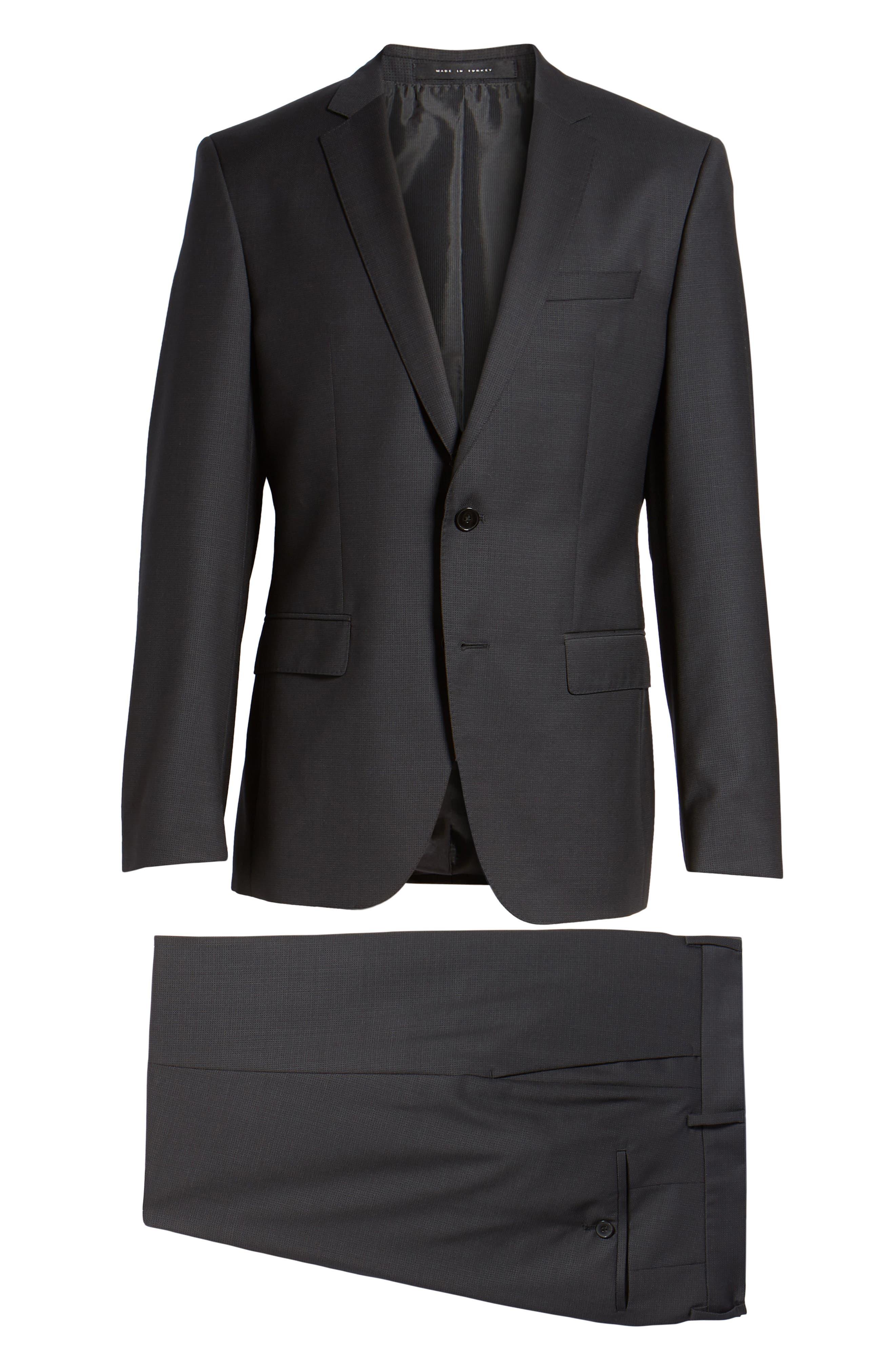 'Huge/Genius' Trim Fit Solid Wool Suit,                             Alternate thumbnail 8, color,                             BLACK