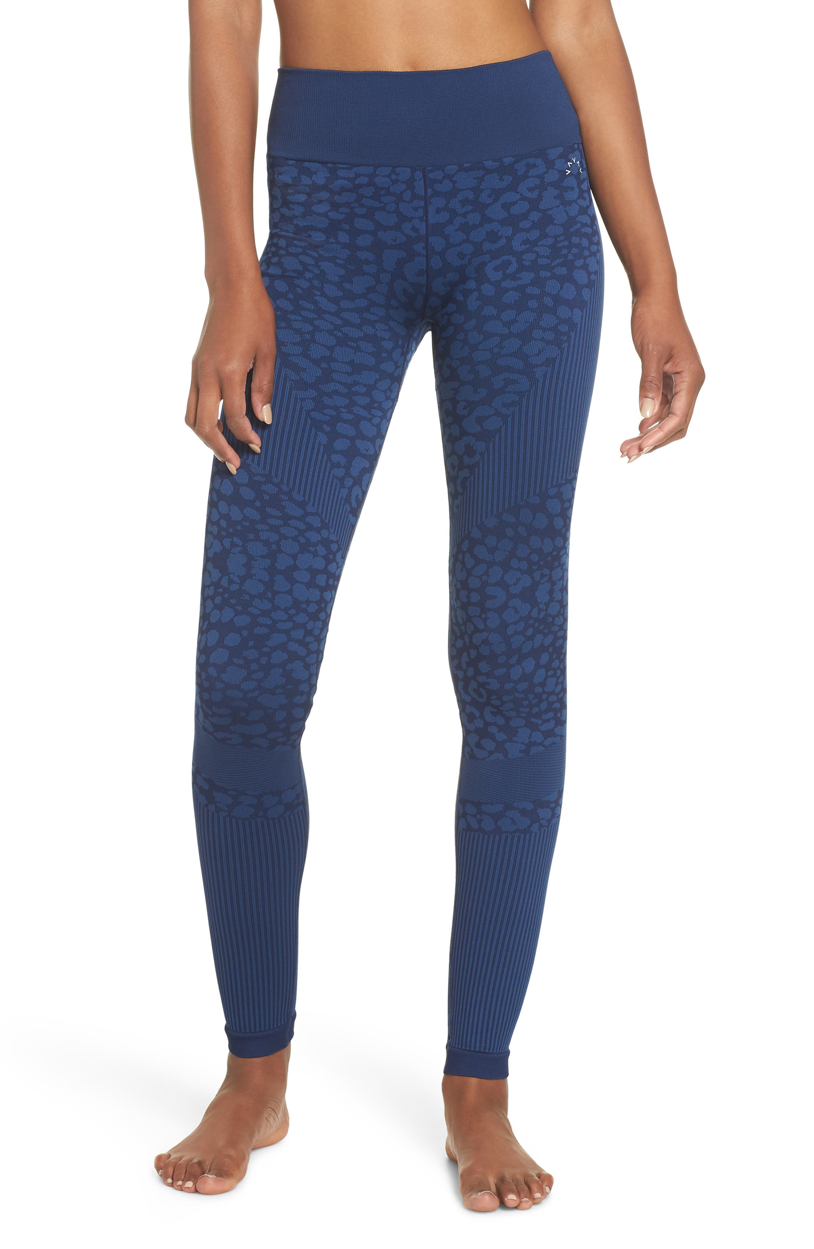 Quincy Seamless Leggings,                             Main thumbnail 1, color,                             NAVY LEOPARD