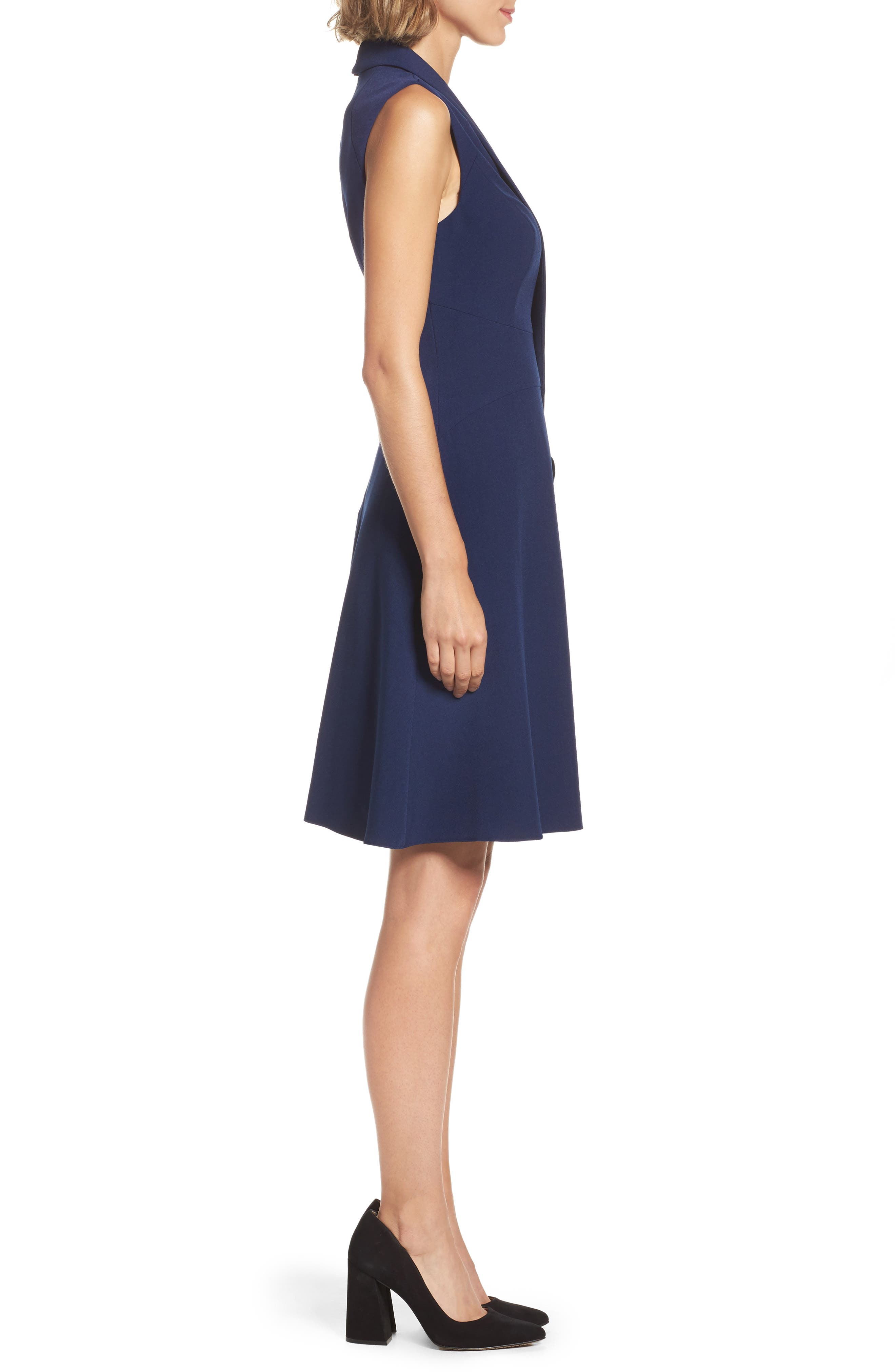 Stretch Crepe A-Line Dress,                             Alternate thumbnail 3, color,                             413