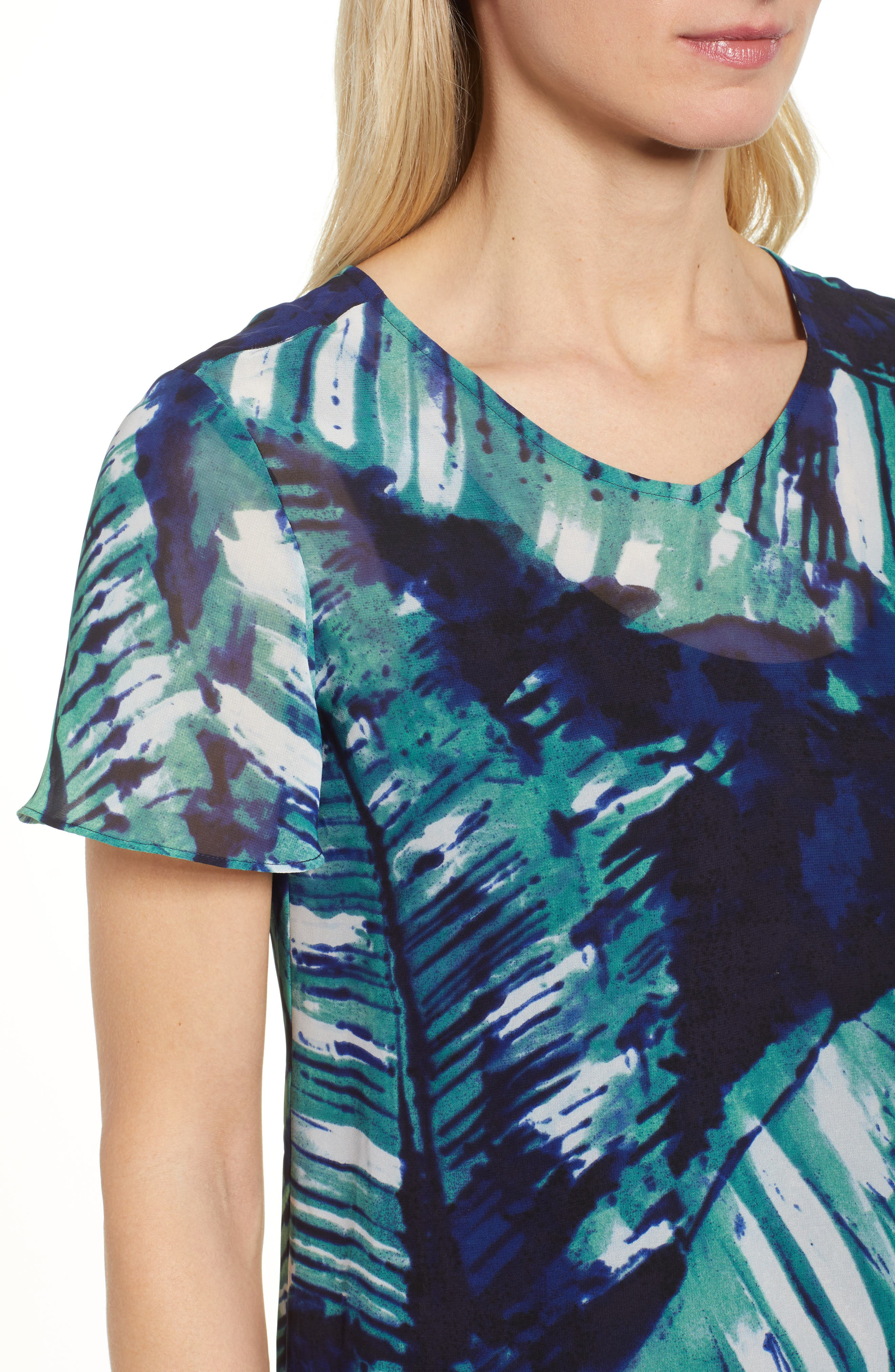 Leaf an Impression Print Top,                             Alternate thumbnail 4, color,                             390