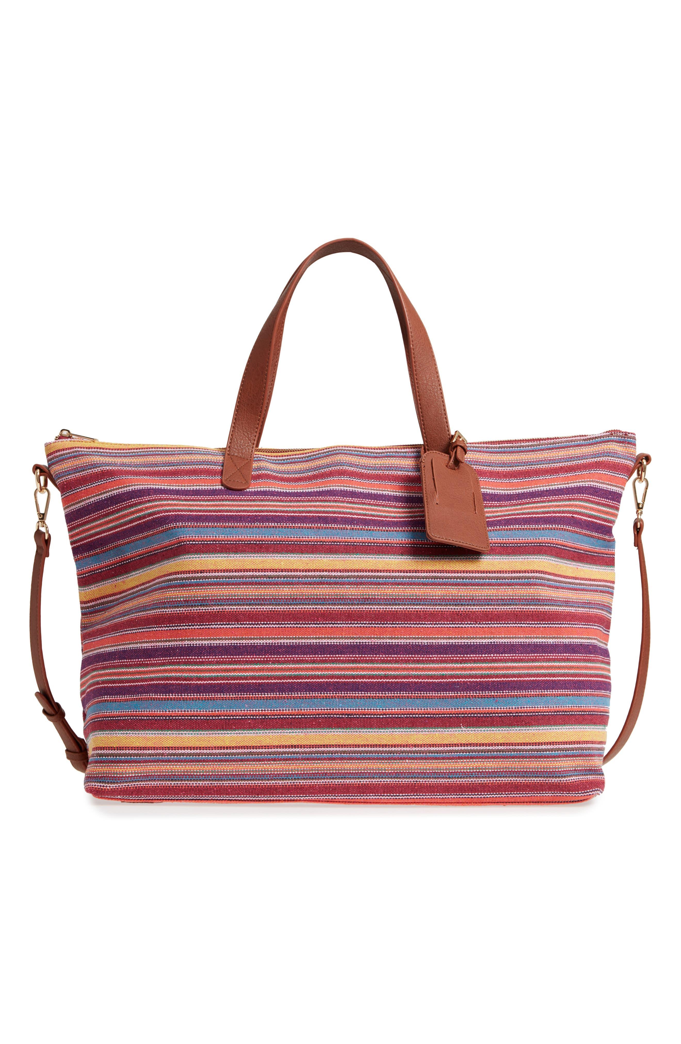 Stripe Woven Overnight Bag,                         Main,                         color, 500