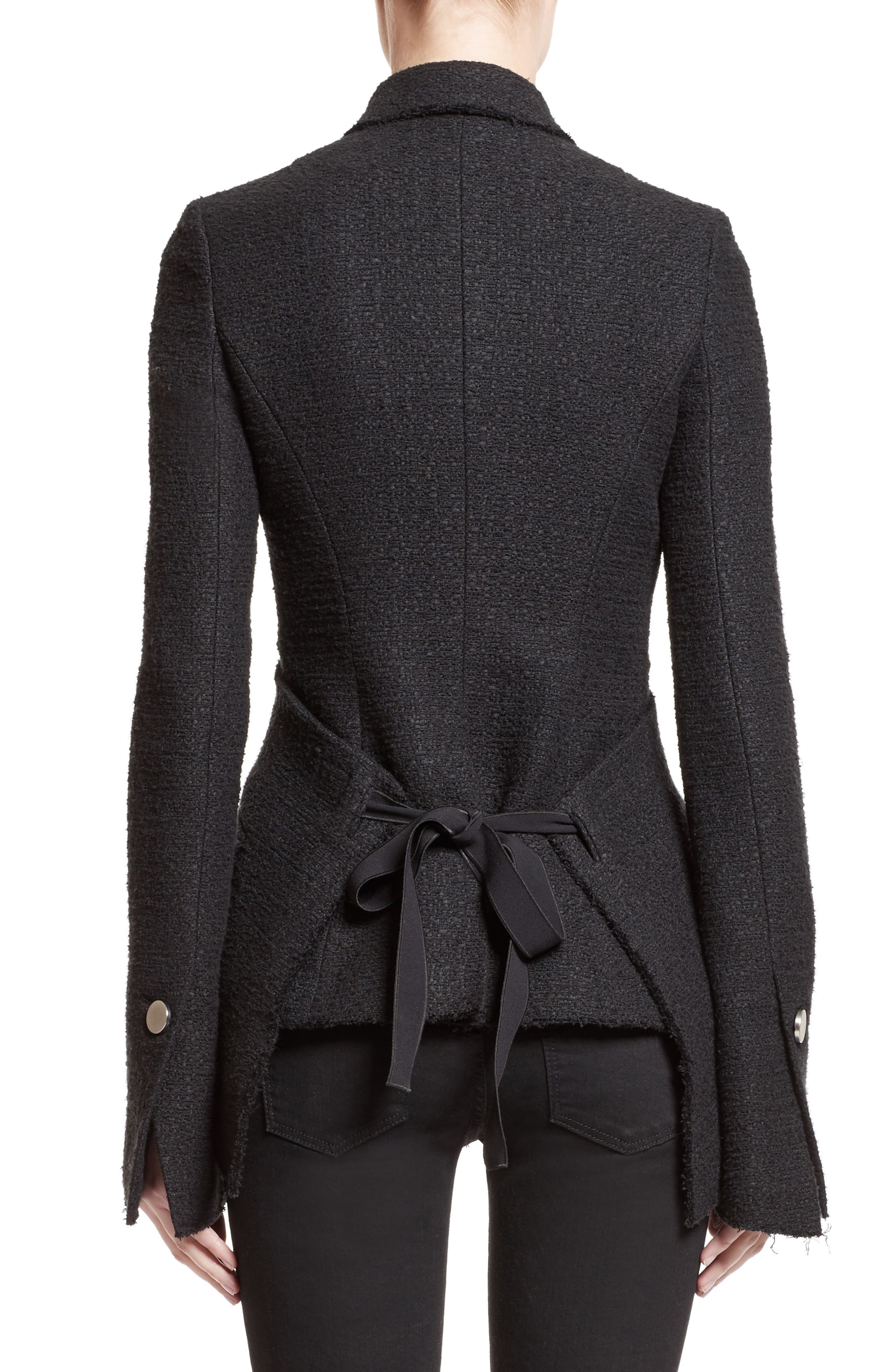 Asymmetrical Tweed Jacket,                             Alternate thumbnail 2, color,                             001