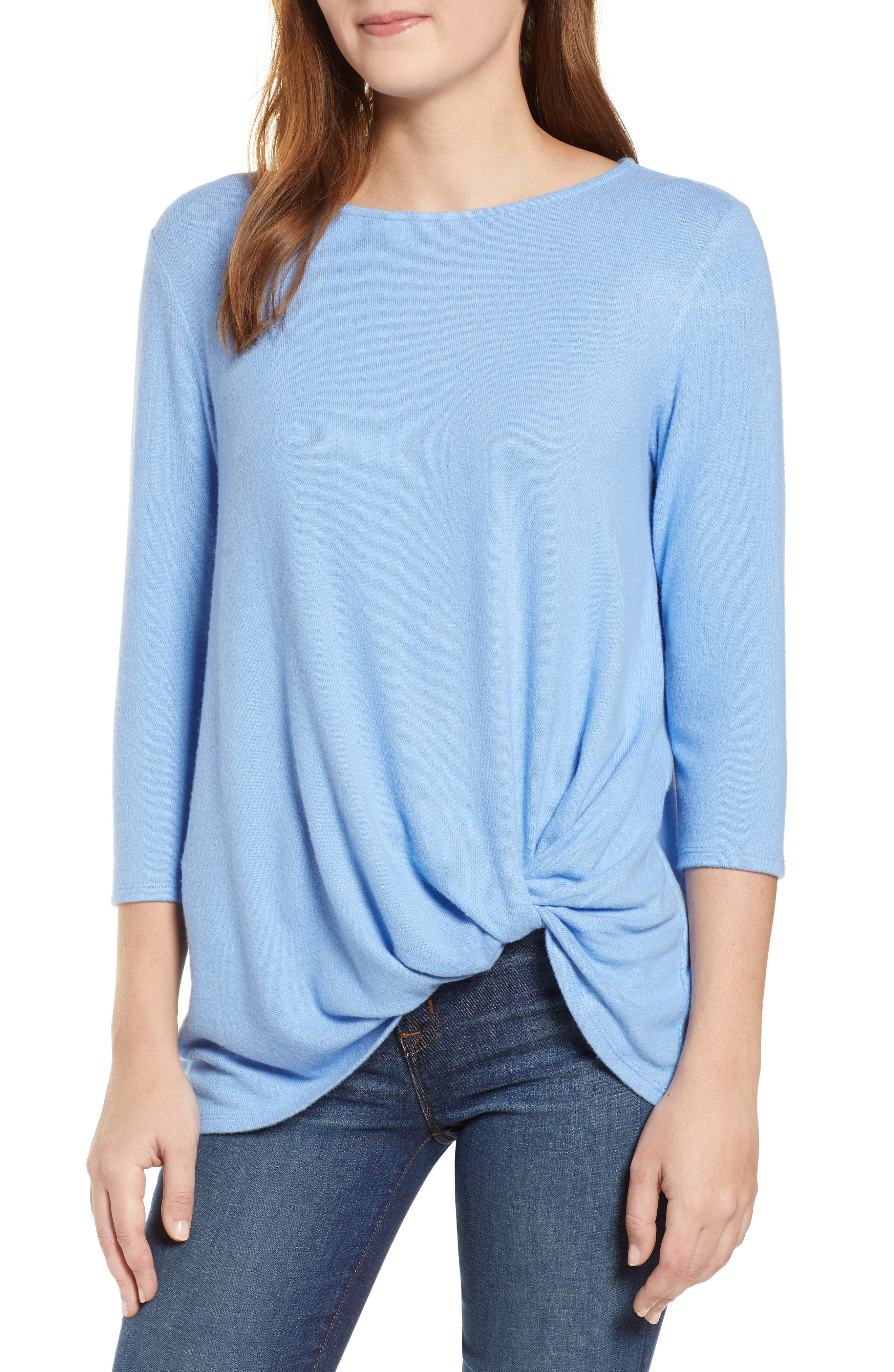 GIBSON,                             Cozy Twist Front Pullover,                             Main thumbnail 1, color,                             CORNFLOWER