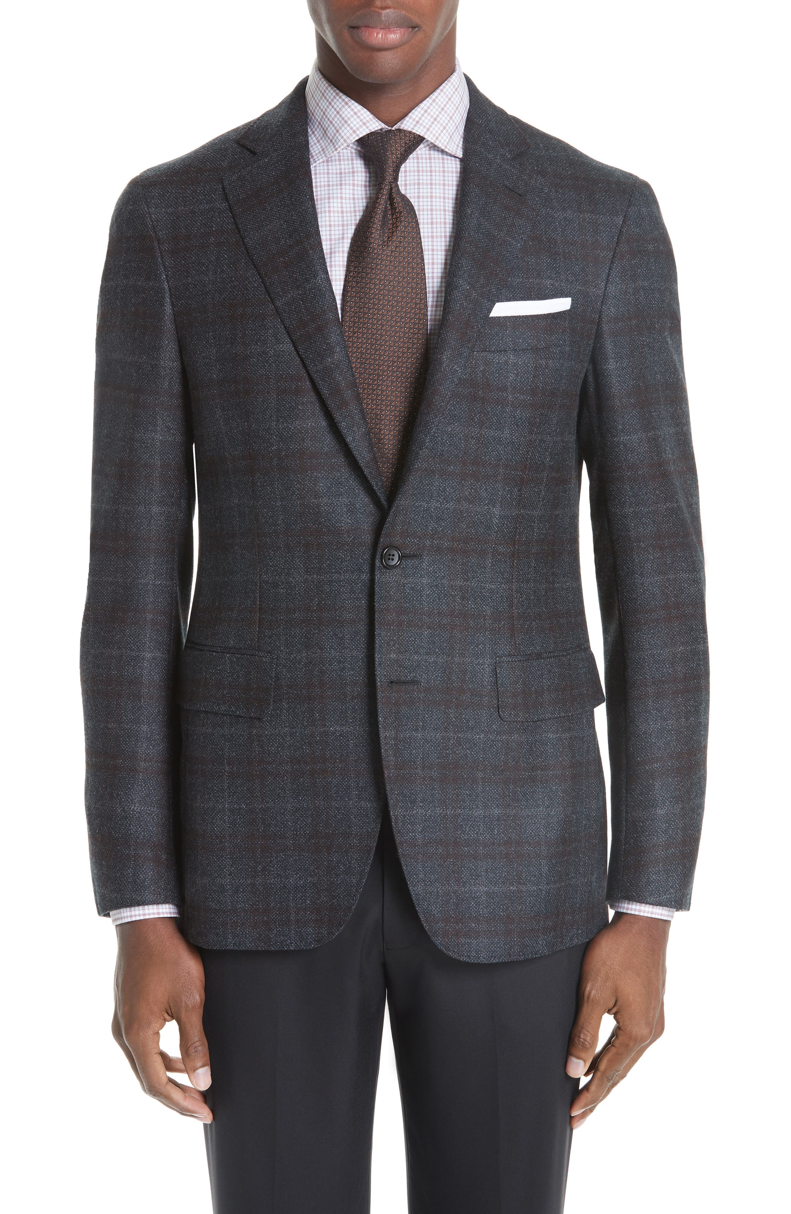 Classic Fit Plaid Wool Sport Coat,                         Main,                         color, CHARCOAL