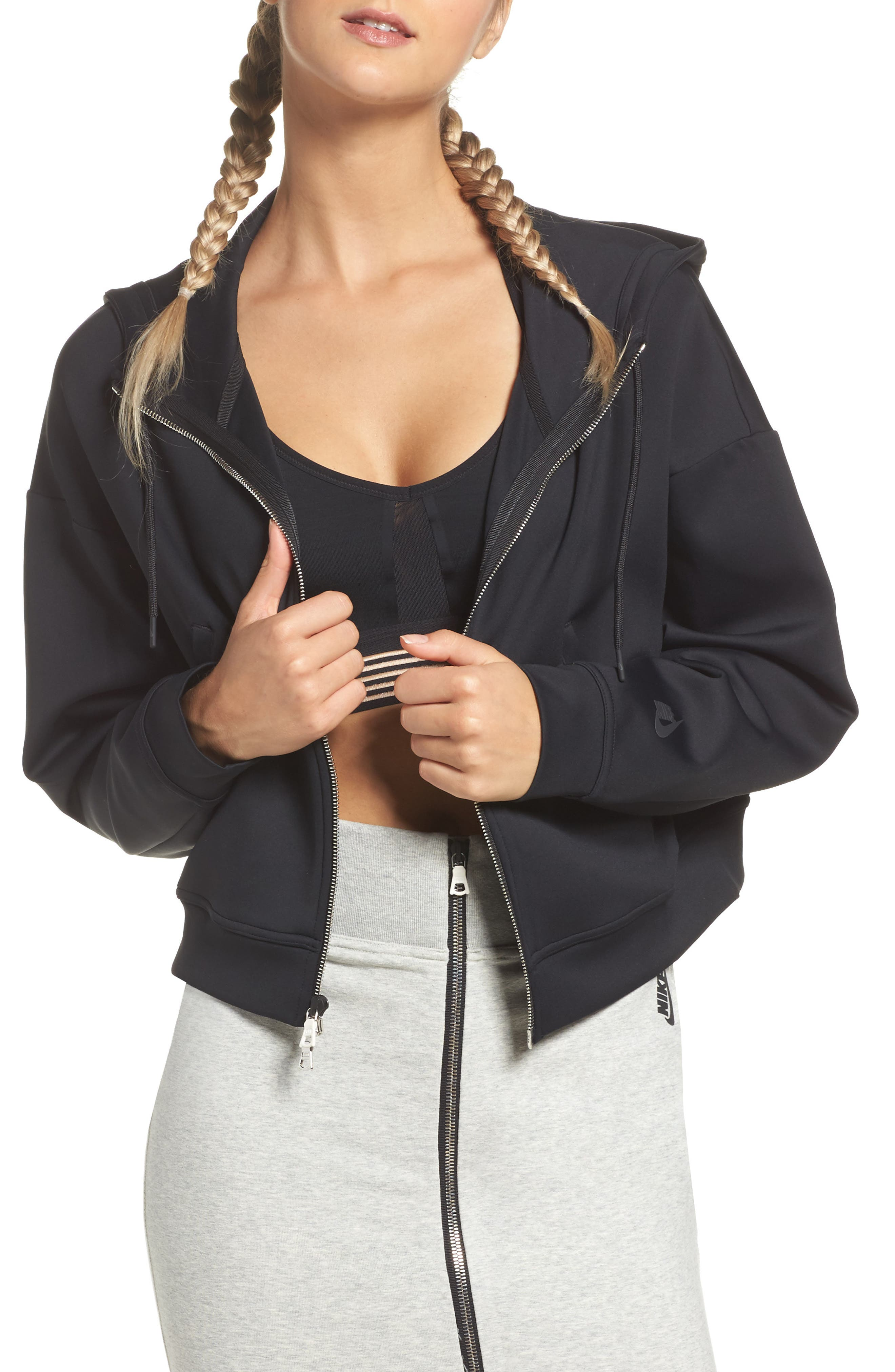 Essential Cropped Hoodie,                             Main thumbnail 1, color,                             010