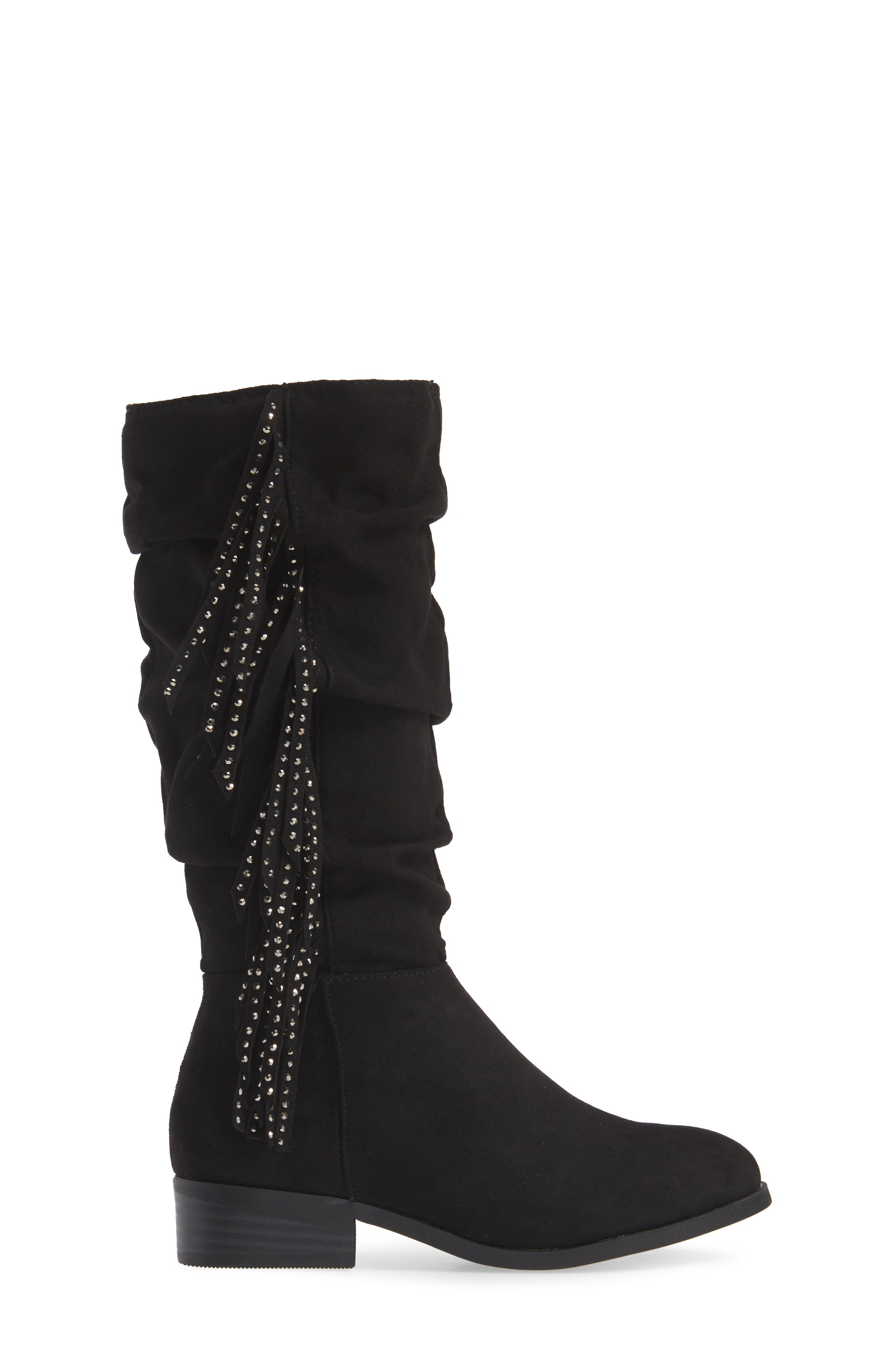 Jfringly Slouchy Fringed Boot,                             Alternate thumbnail 3, color,                             BLACK MICRO