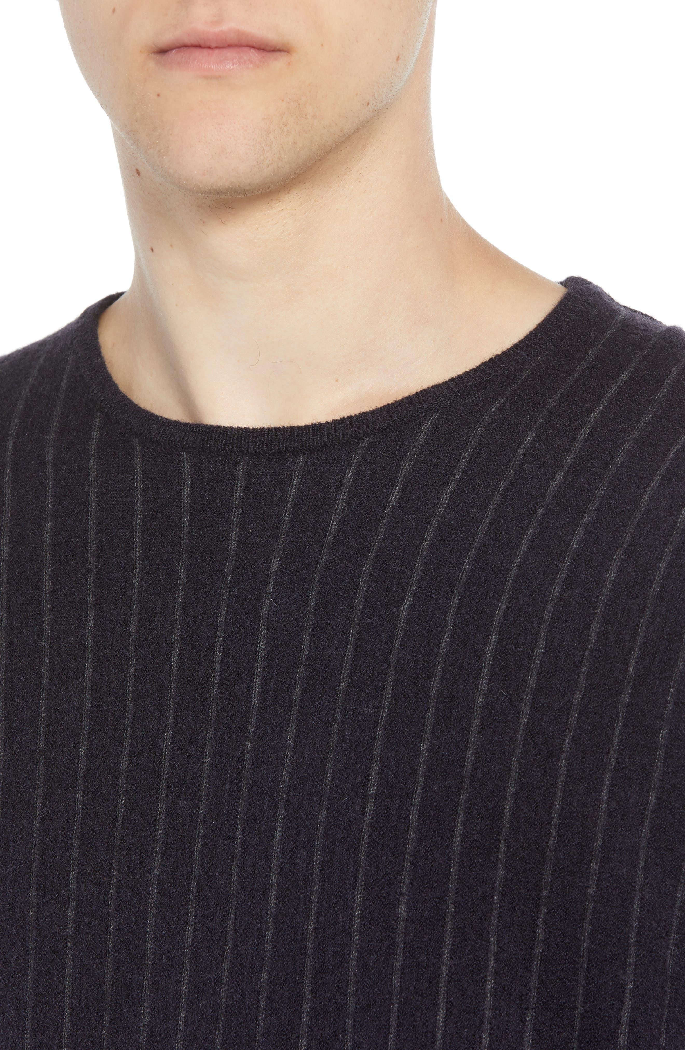 Boiled Wool Blend Crewneck Sweater,                             Alternate thumbnail 4, color,                             MULTI STRIPE
