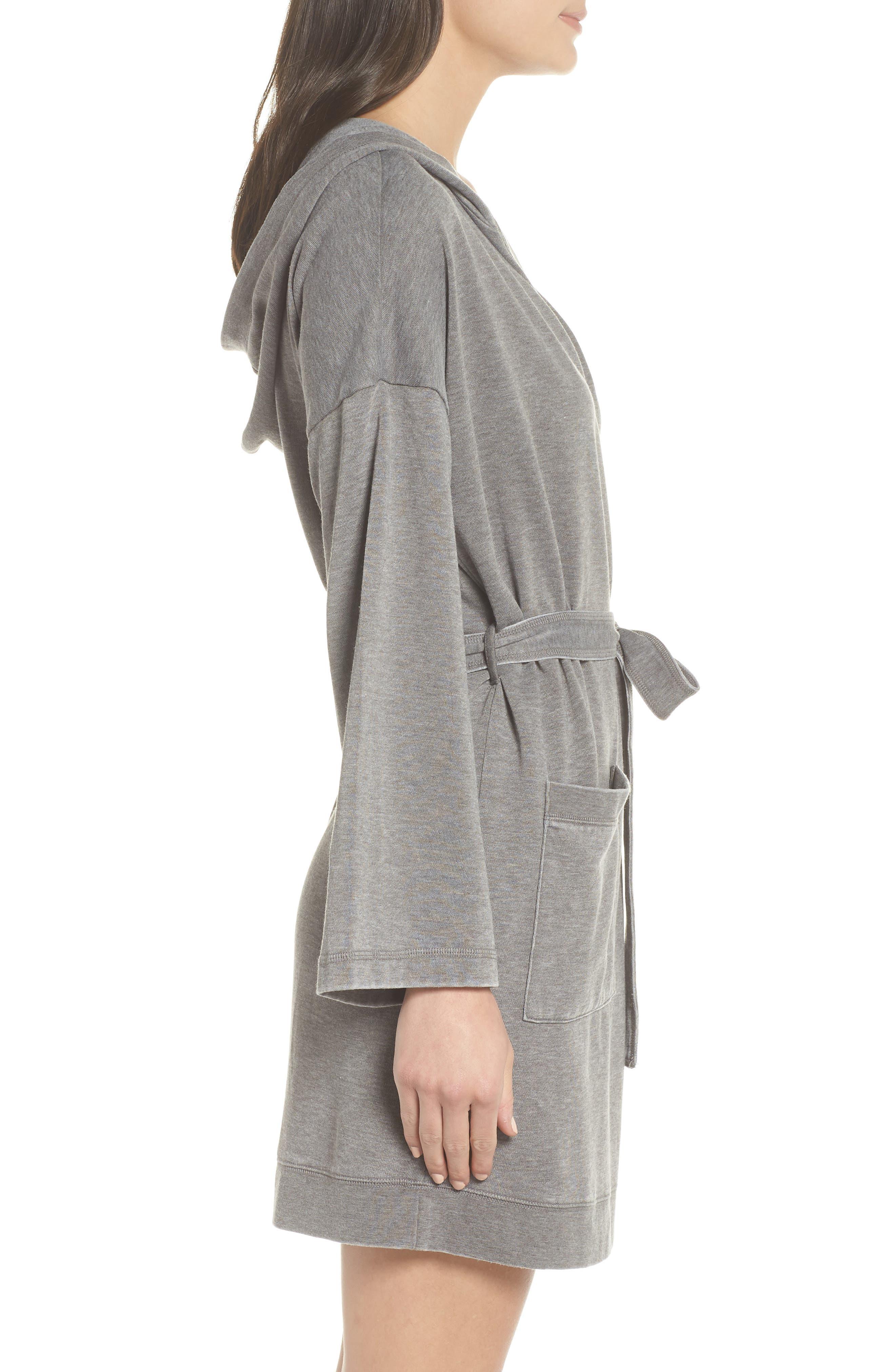 Sweatshirt Robe,                             Alternate thumbnail 3, color,                             GREY CASTLEROCK