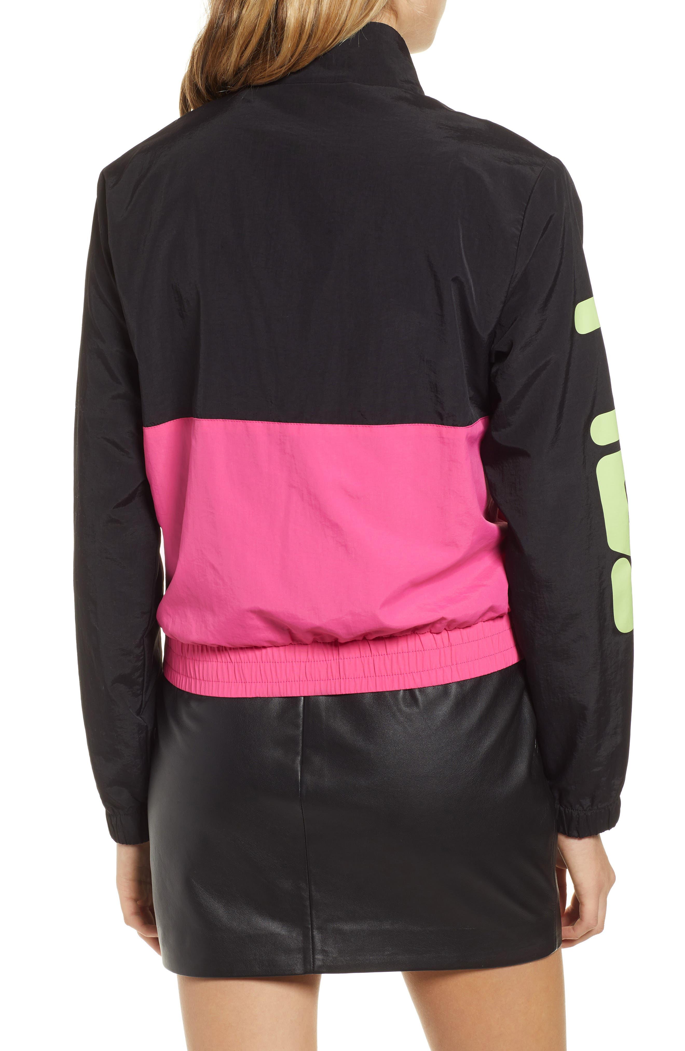 Miguela Colorblock Windbreaker Jacket,                             Alternate thumbnail 2, color,                             BLACK