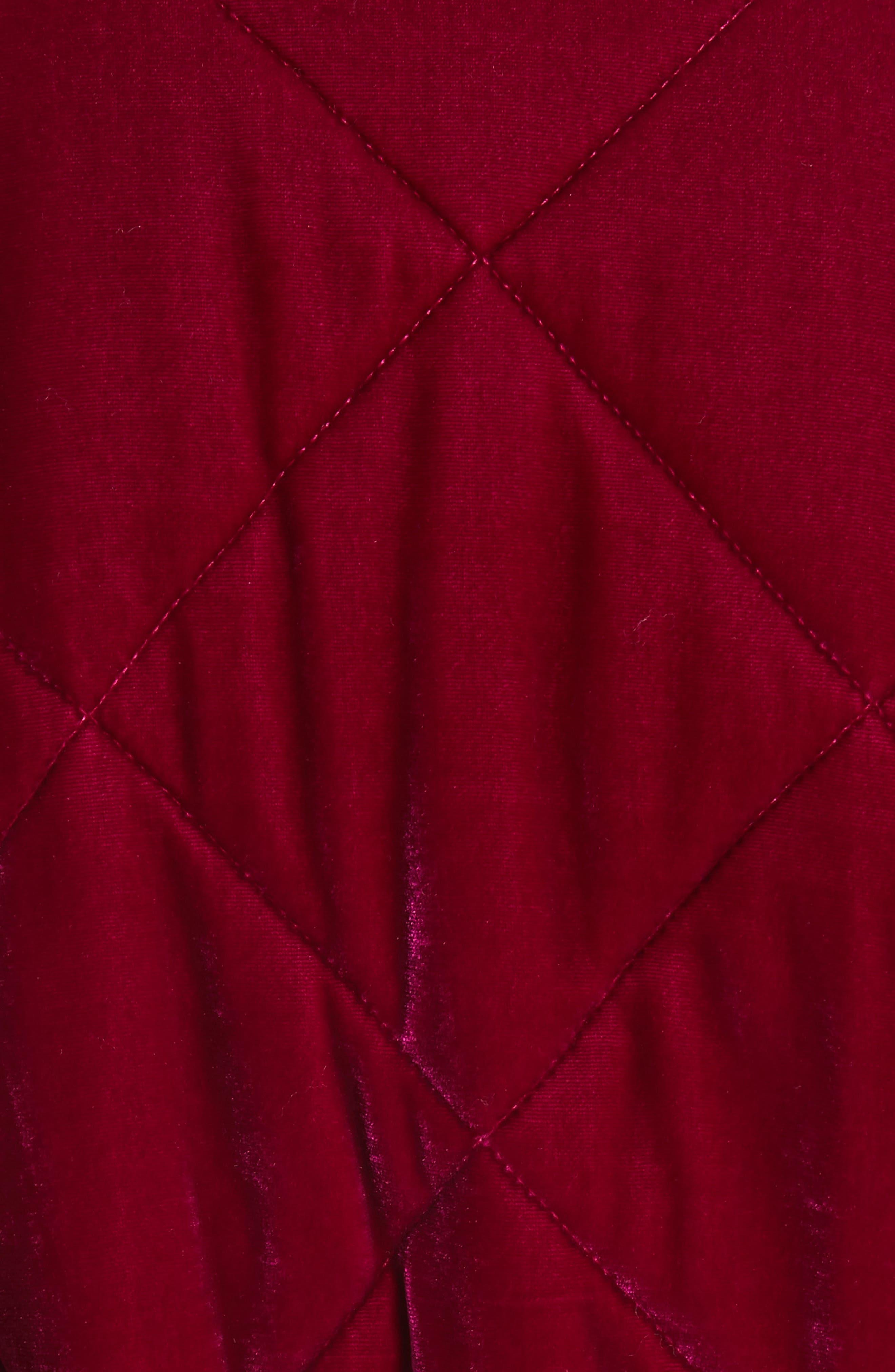 Quilted Velvet Jacket,                             Alternate thumbnail 7, color,                             CRANBERRY
