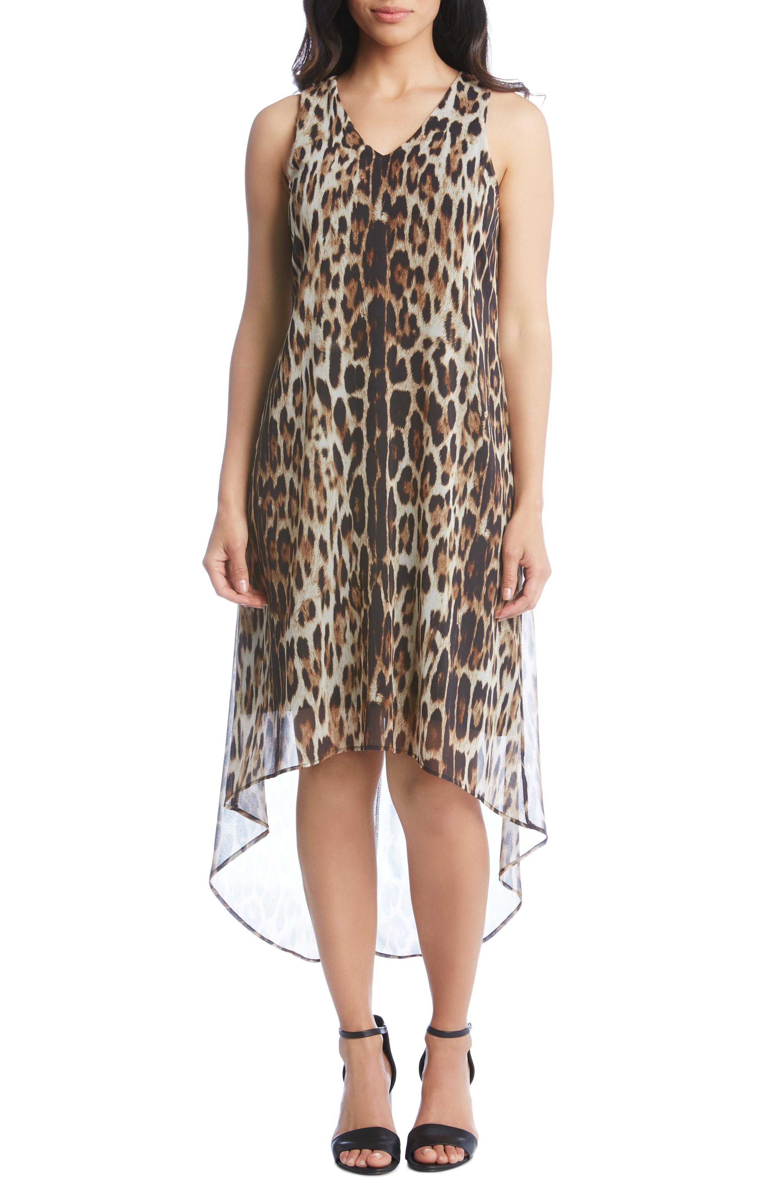 Karen Kane Sleeveless Leopard Print High/low Dress
