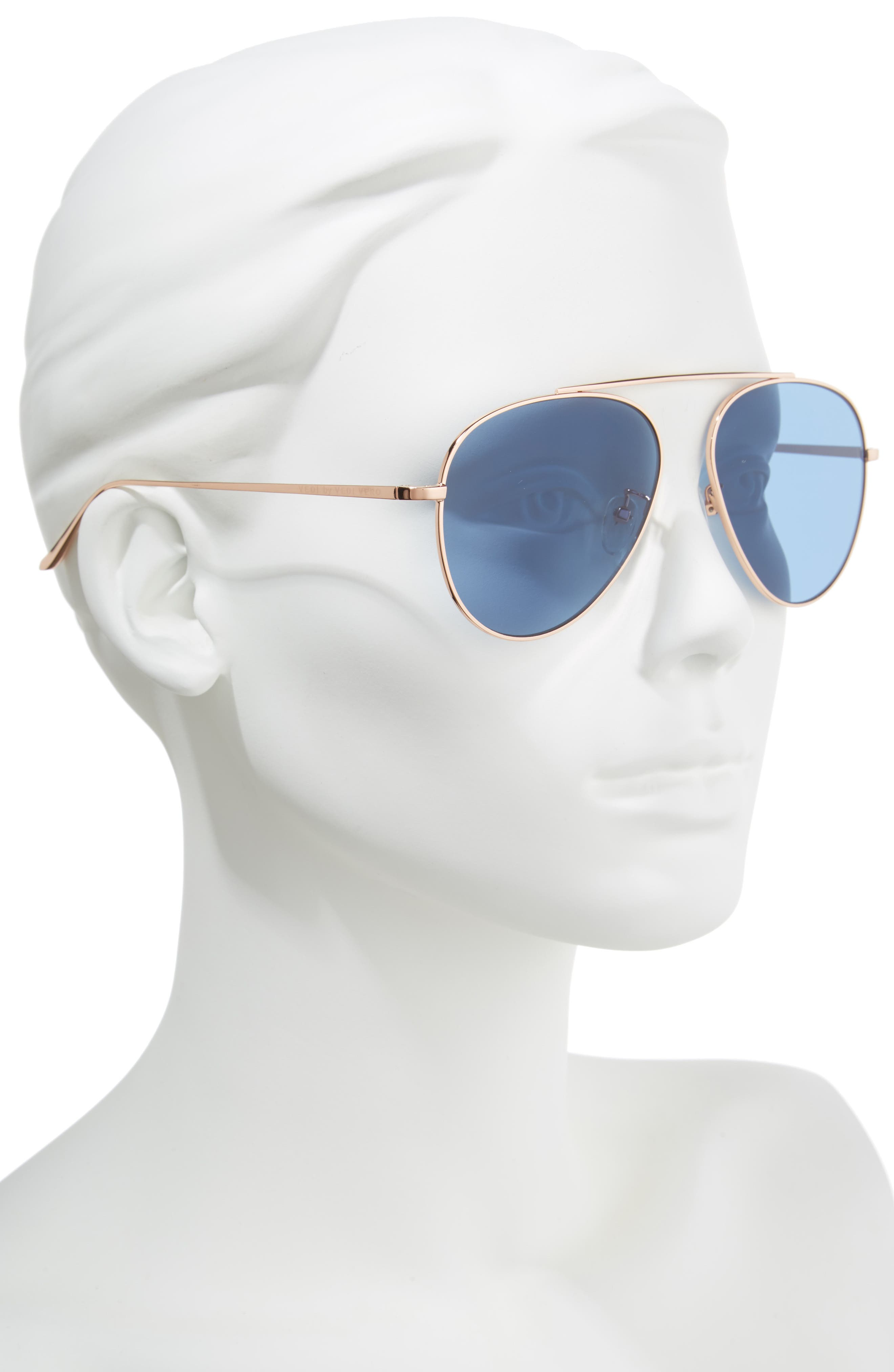 62mm Metal Oversize Aviator Sunglasses,                             Alternate thumbnail 2, color,                             ROSE GOLD/NAVY
