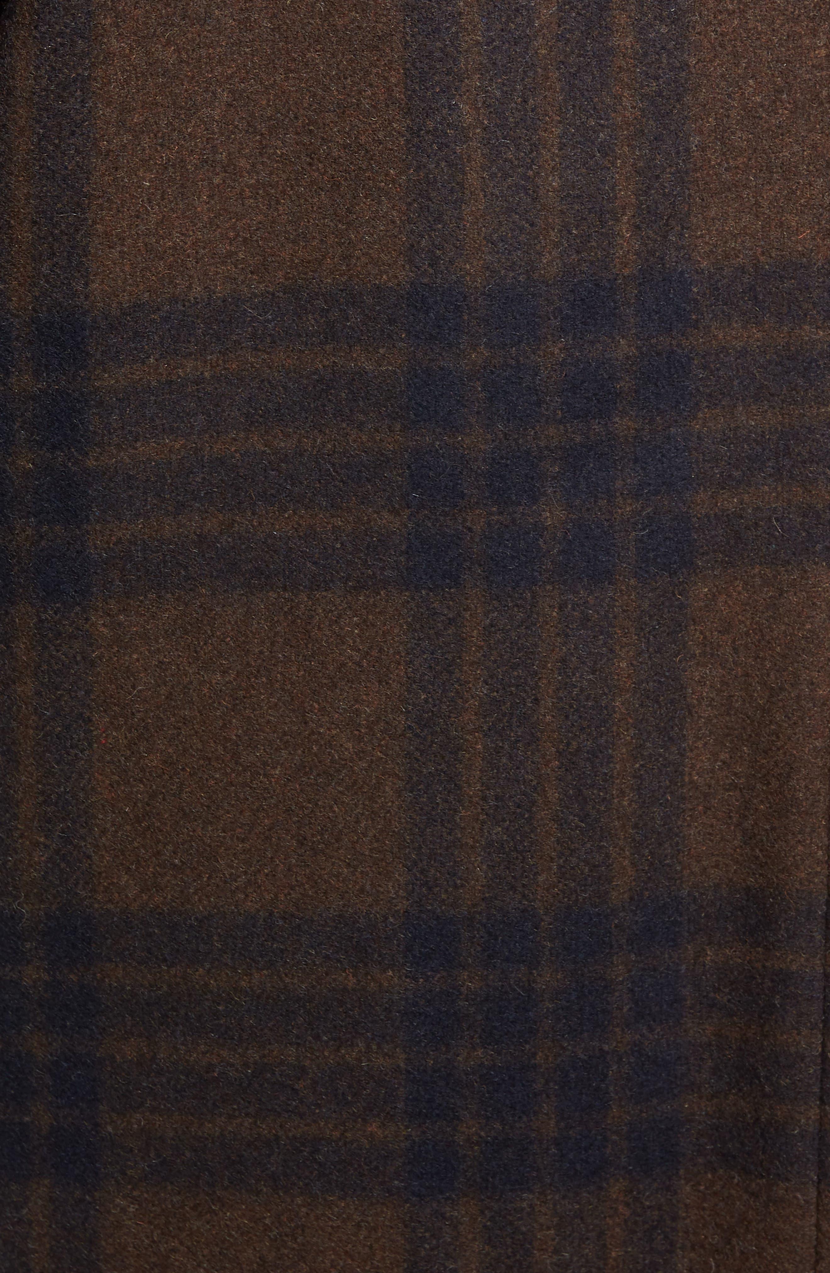 Plaid Duffle Coat with Faux Shearling Trim,                             Alternate thumbnail 7, color,                             H. REDWOOD