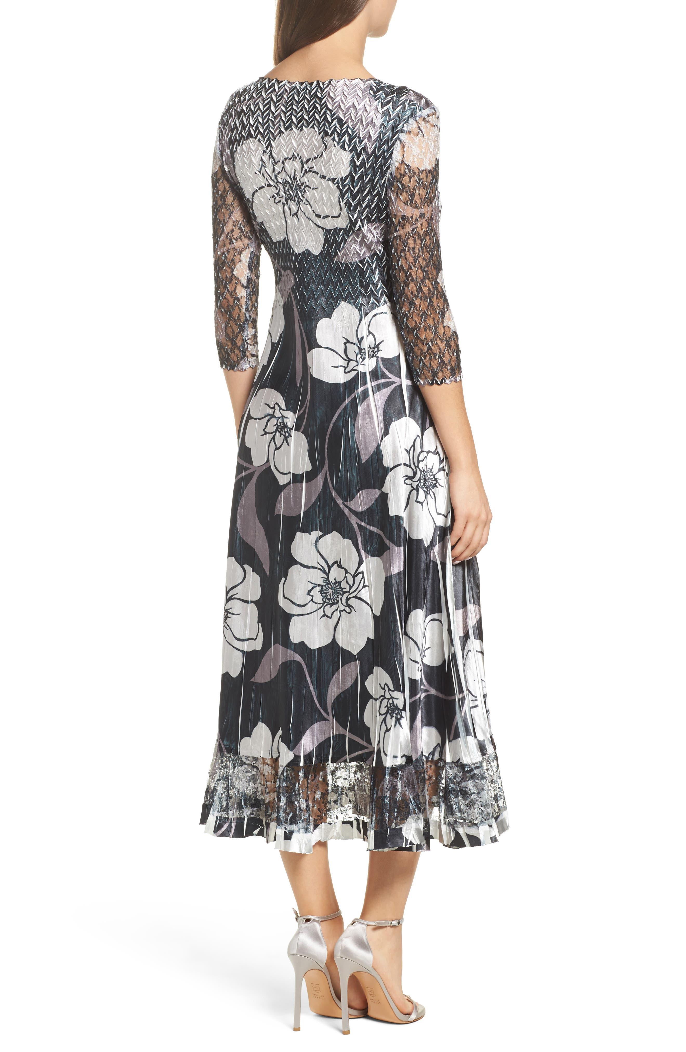 Floral A-Line Dress,                             Alternate thumbnail 2, color,                             016