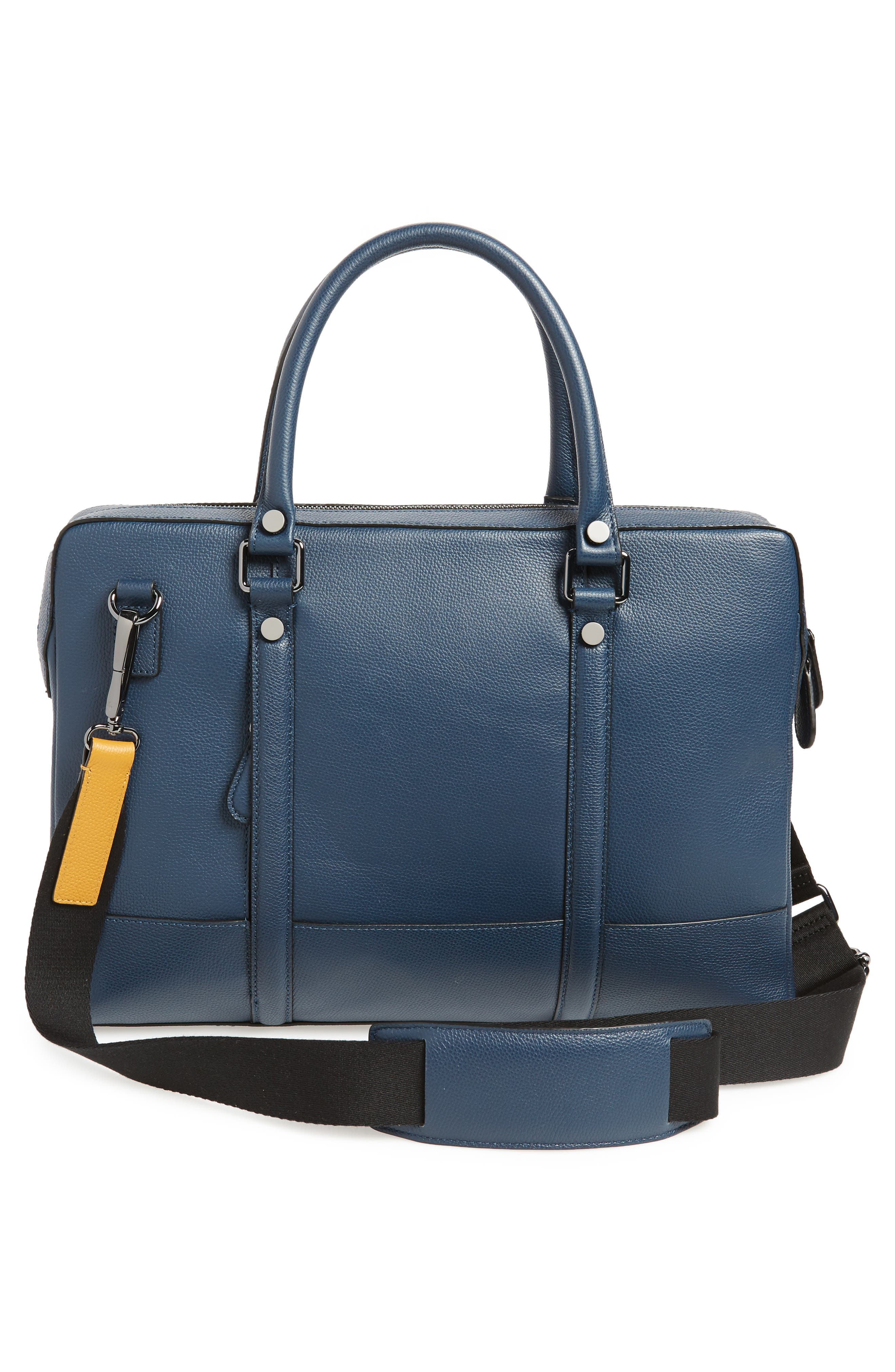 AWOL Leather Document Bag,                             Alternate thumbnail 3, color,                             NAVY