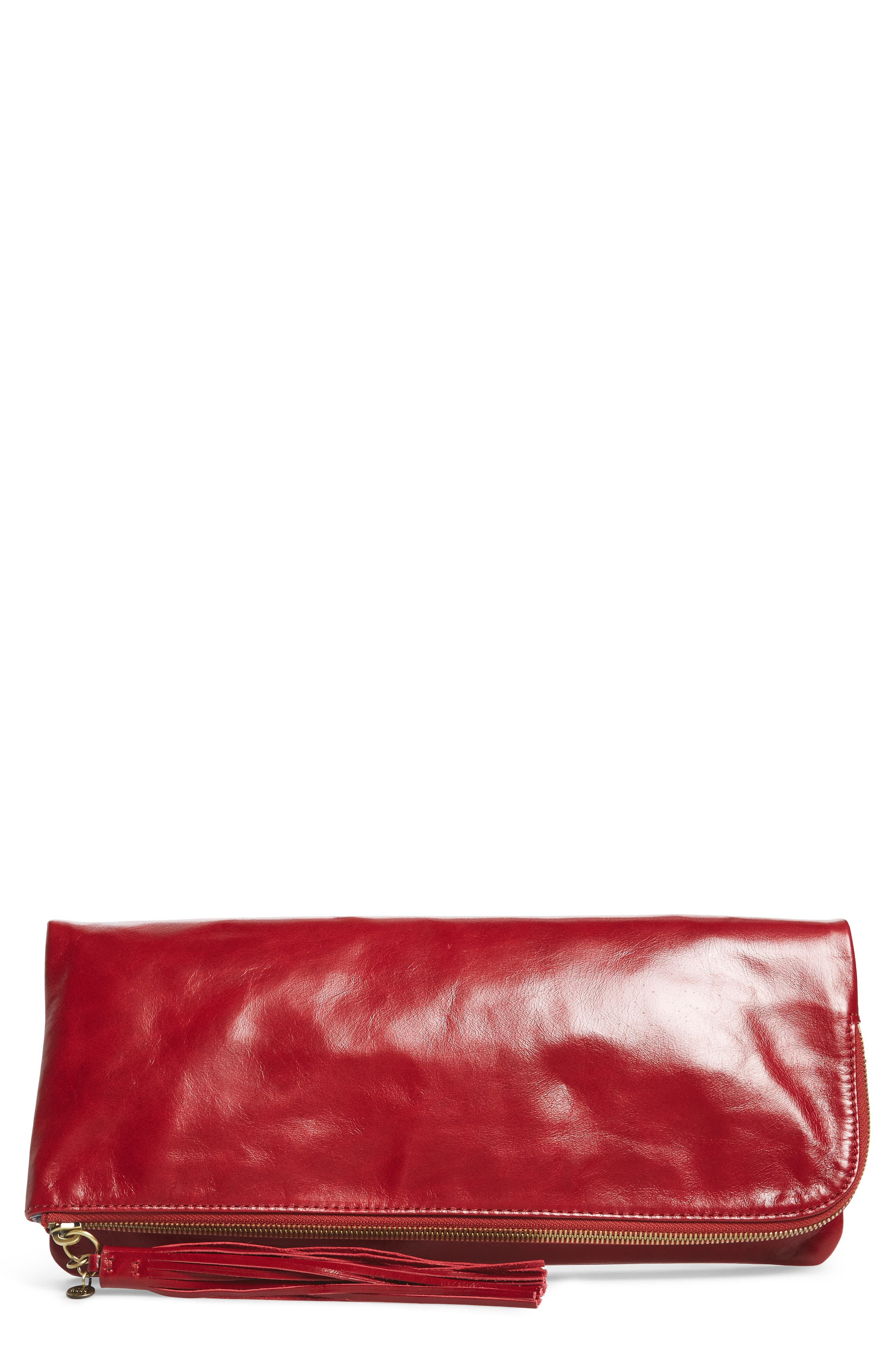 Raine Calfskin Leather Foldover Clutch,                             Main thumbnail 4, color,