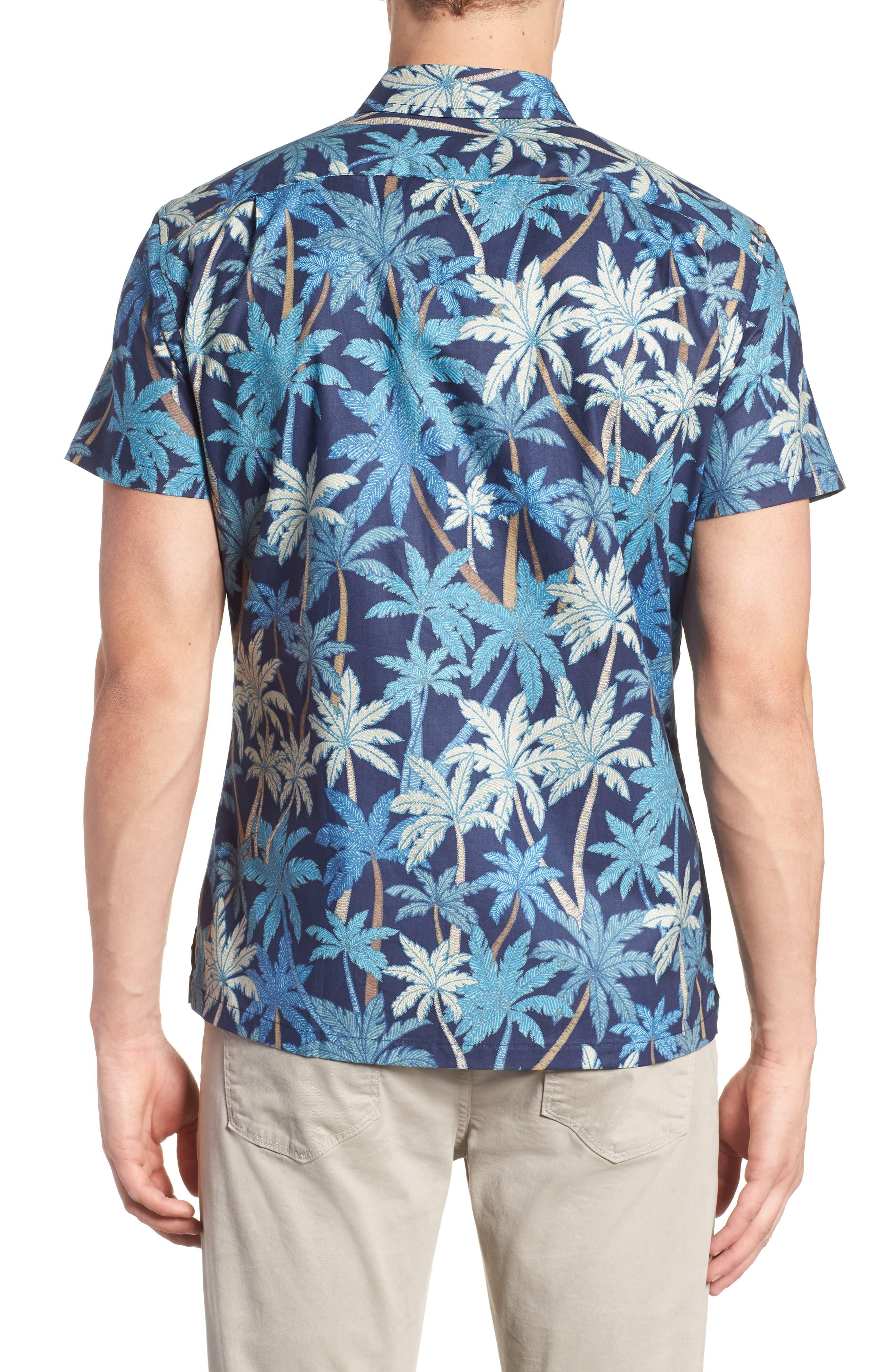 Pick a Palm Trim Fit Camp Shirt,                             Alternate thumbnail 2, color,                             NAVY