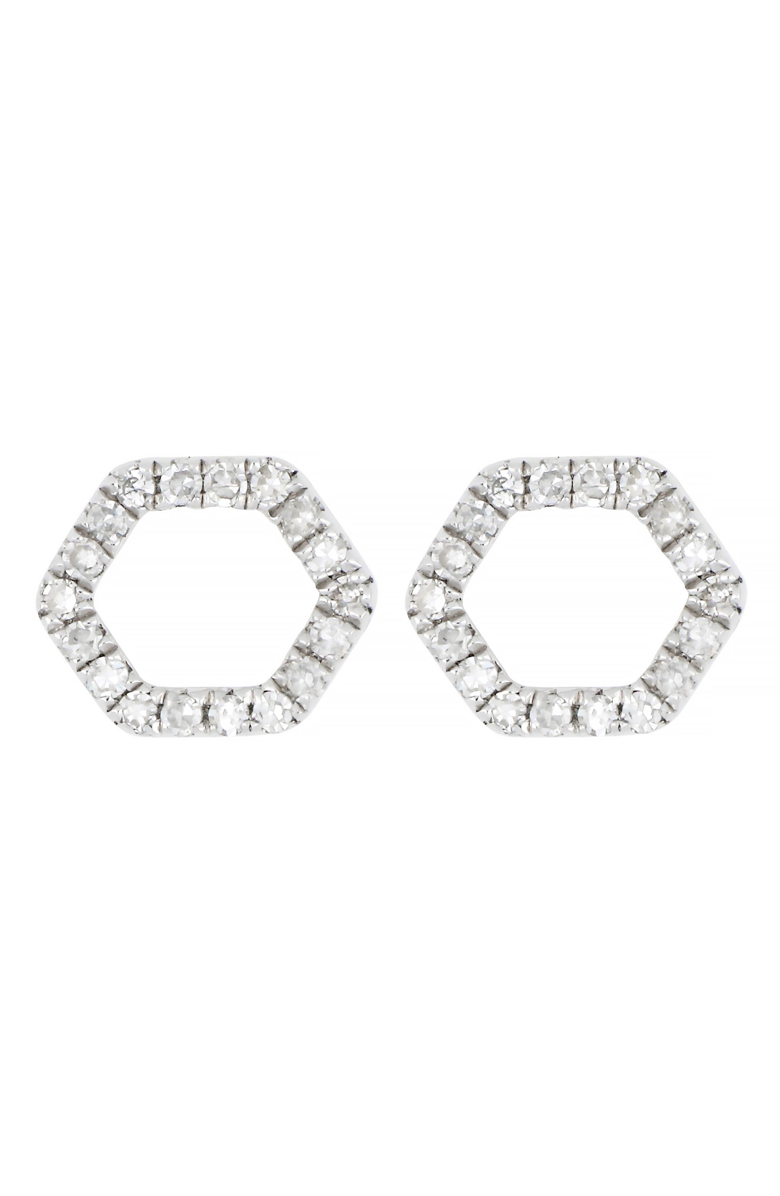 CARRIERE JEWELRY Carrière Diamond Hexagon Stud Earrings, Main, color, SILVER/ DIAMOND