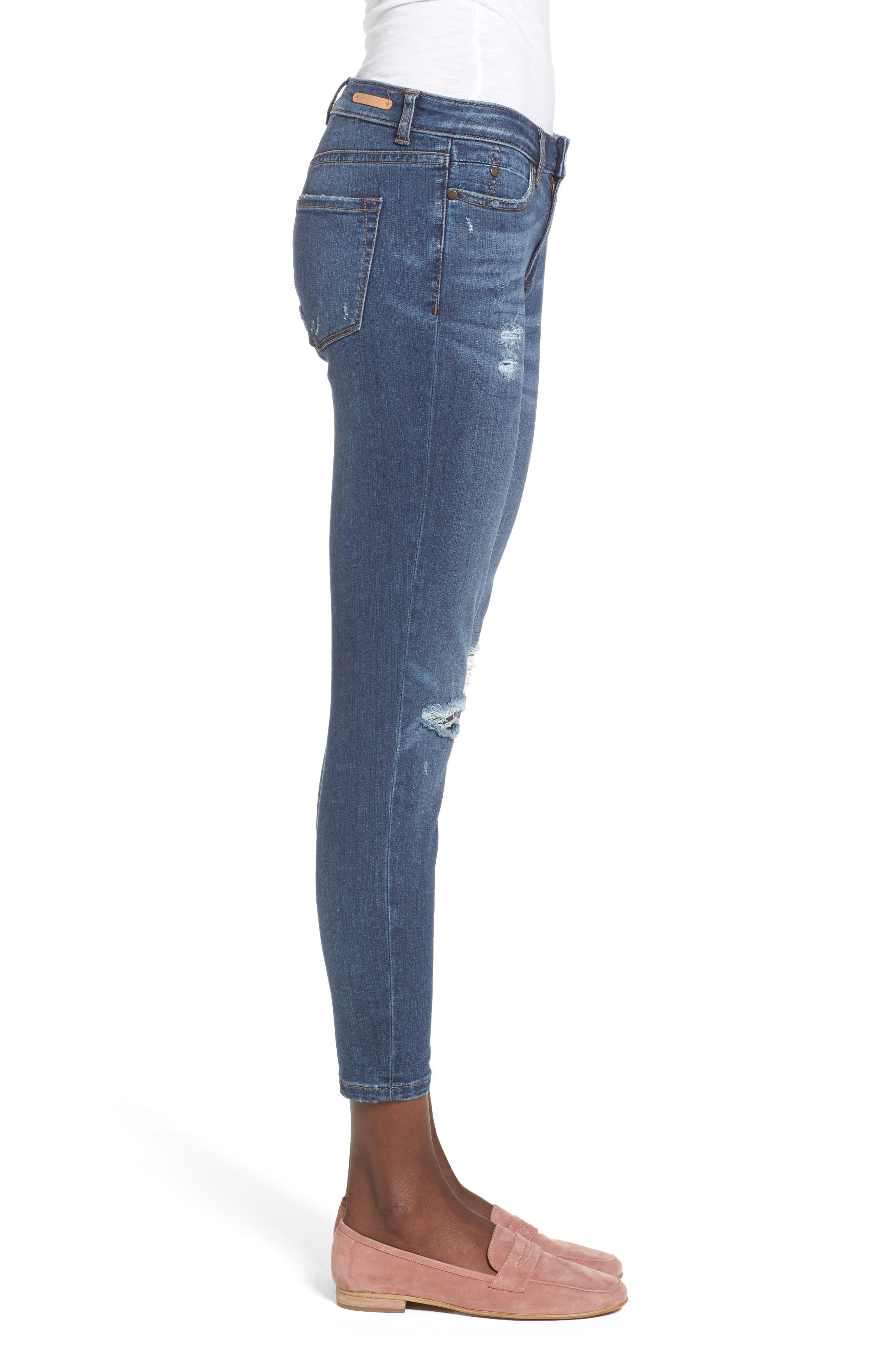 Rip & Repair Ankle Skinny Jeans,                             Alternate thumbnail 3, color,                             420