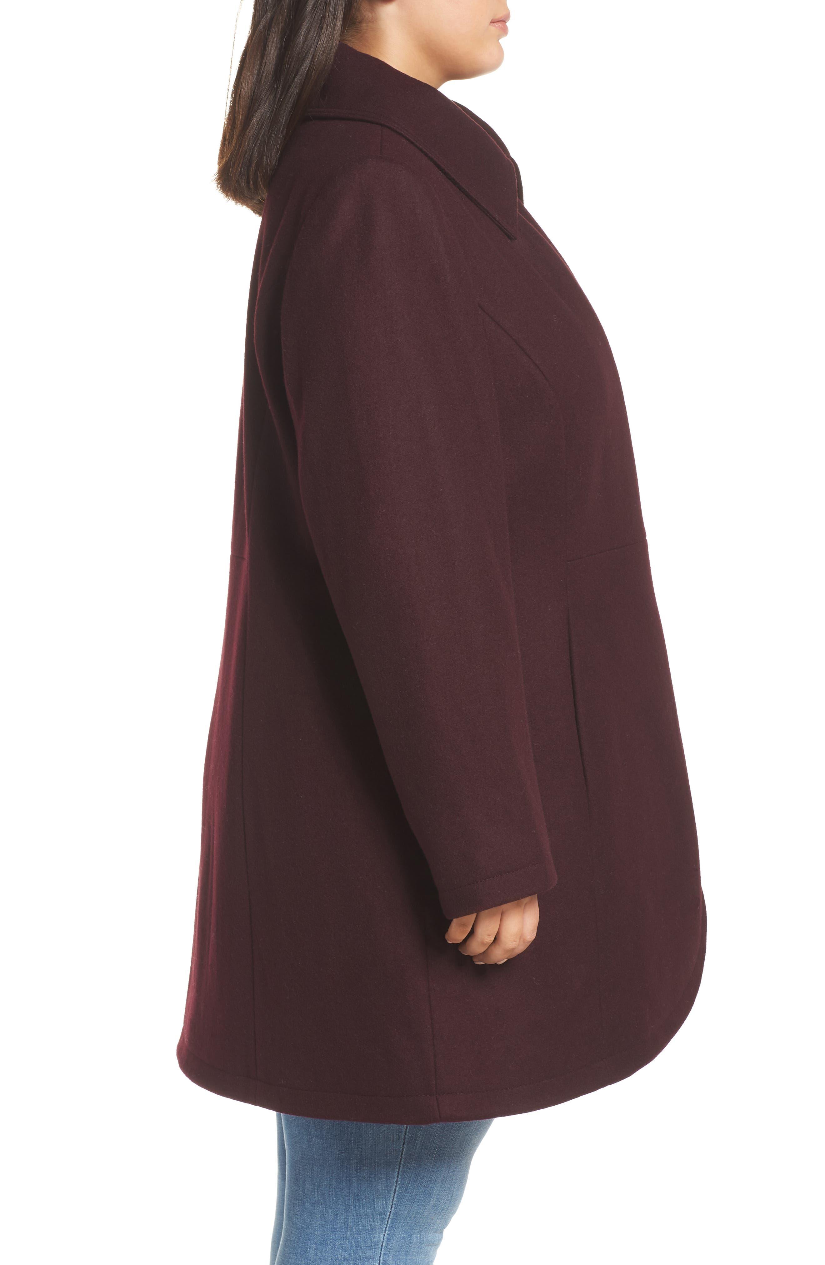 Asymmetrical Zip Wool Blend Coat,                             Alternate thumbnail 3, color,                             WINE