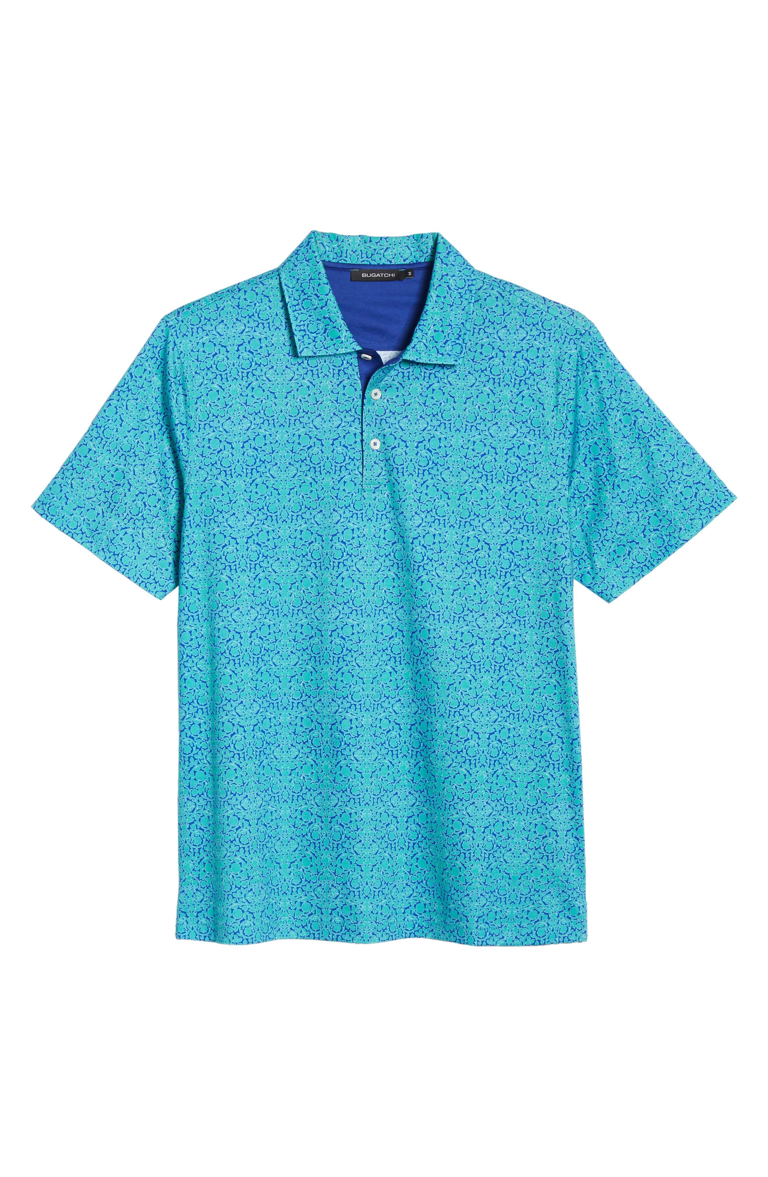 BUGATCHI,                             Regular Fit Digital Print Polo,                             Alternate thumbnail 6, color,                             EMERALD